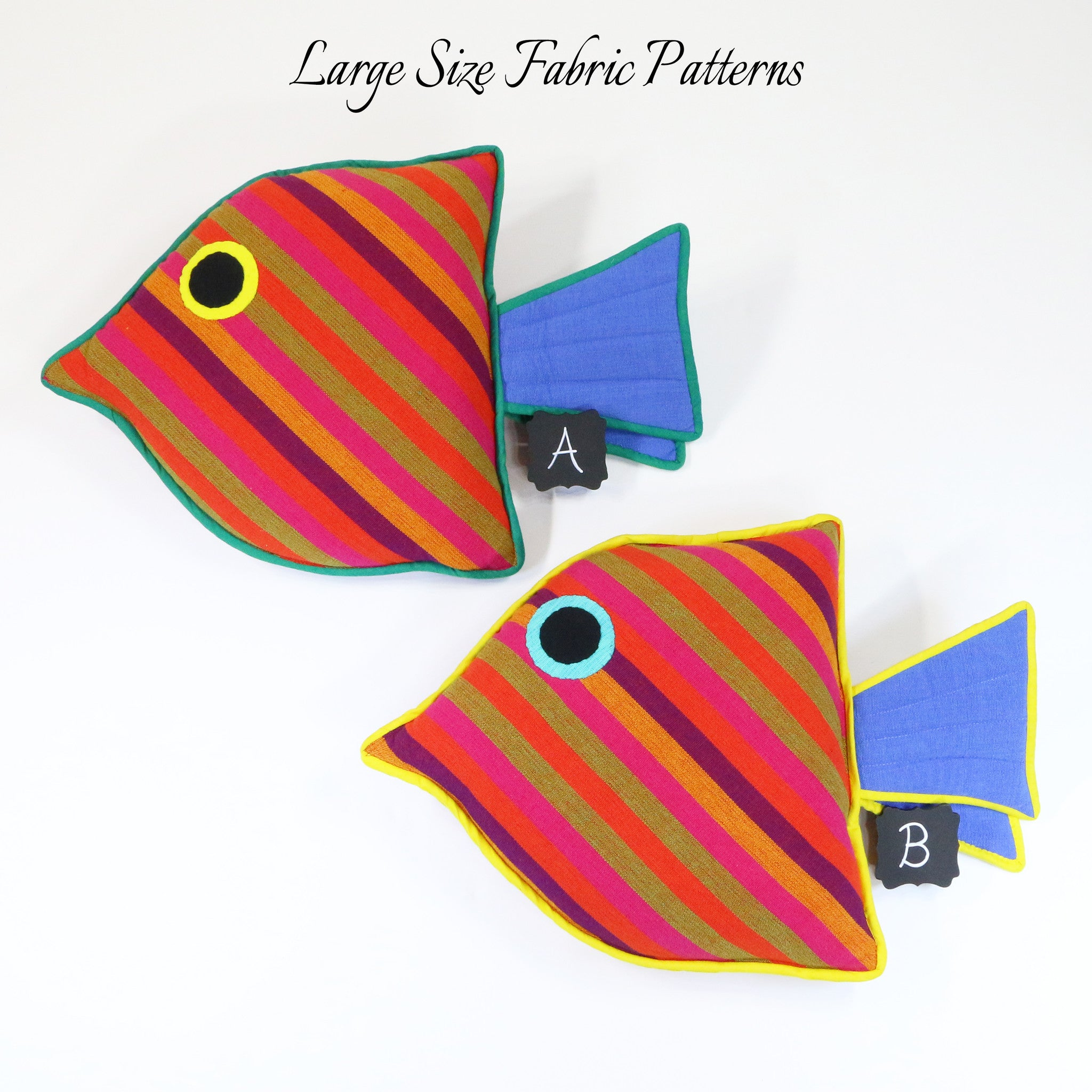 Lydia, the Juvenile Fish – large size fabric patterns shown