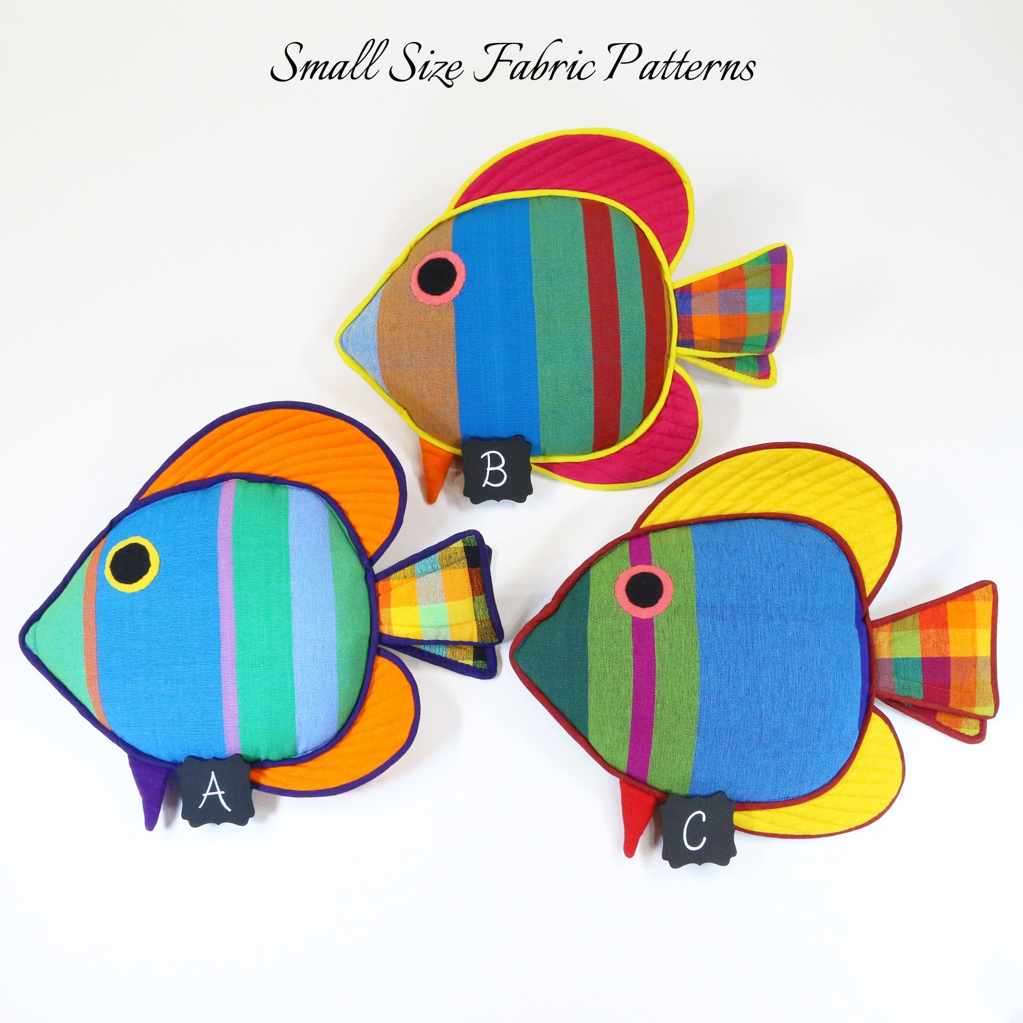 Cooper, the Sail Fin Fish – all small size fabric patterns shown