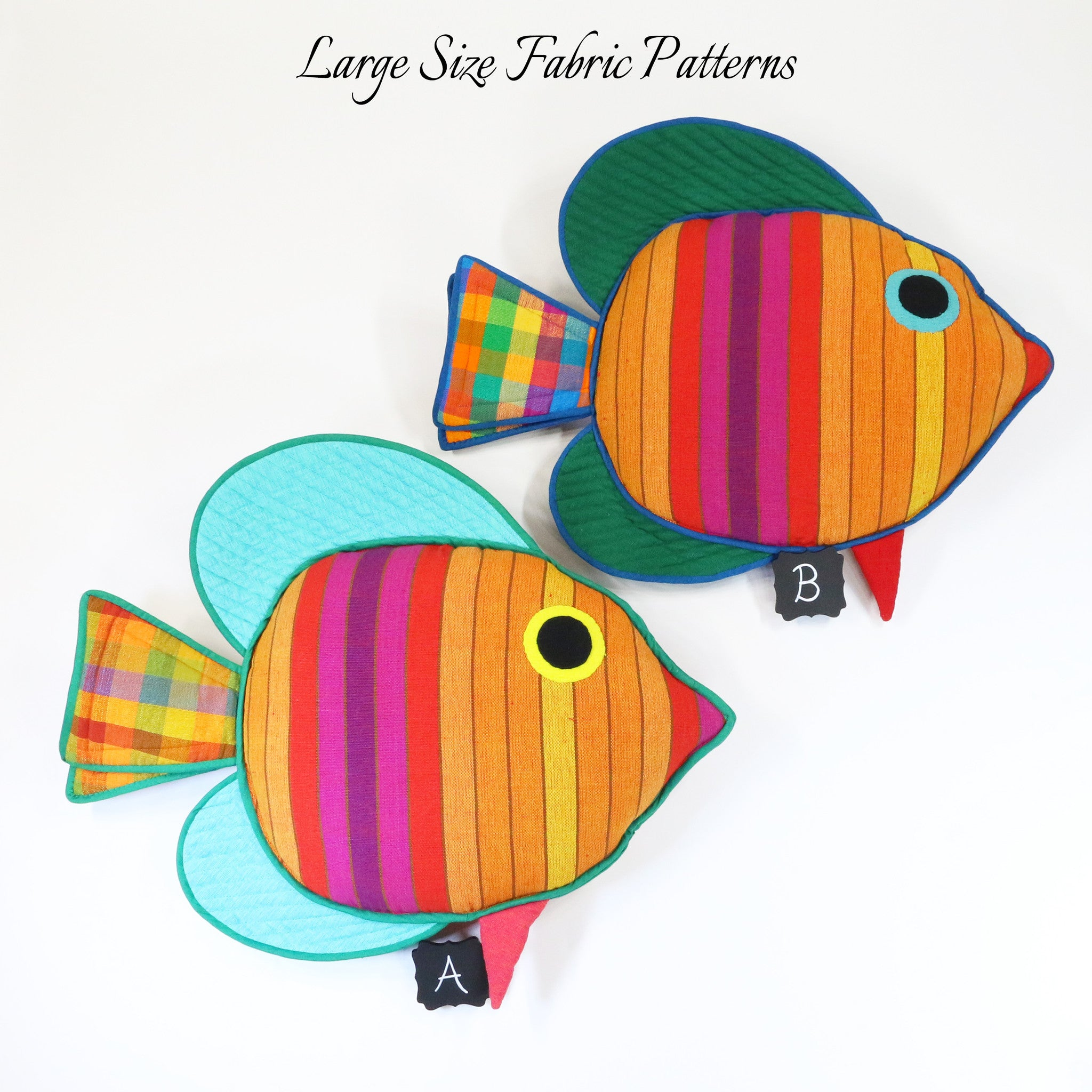 Gypsy, the Sail Fin Fish – all large size fabric patterns shown