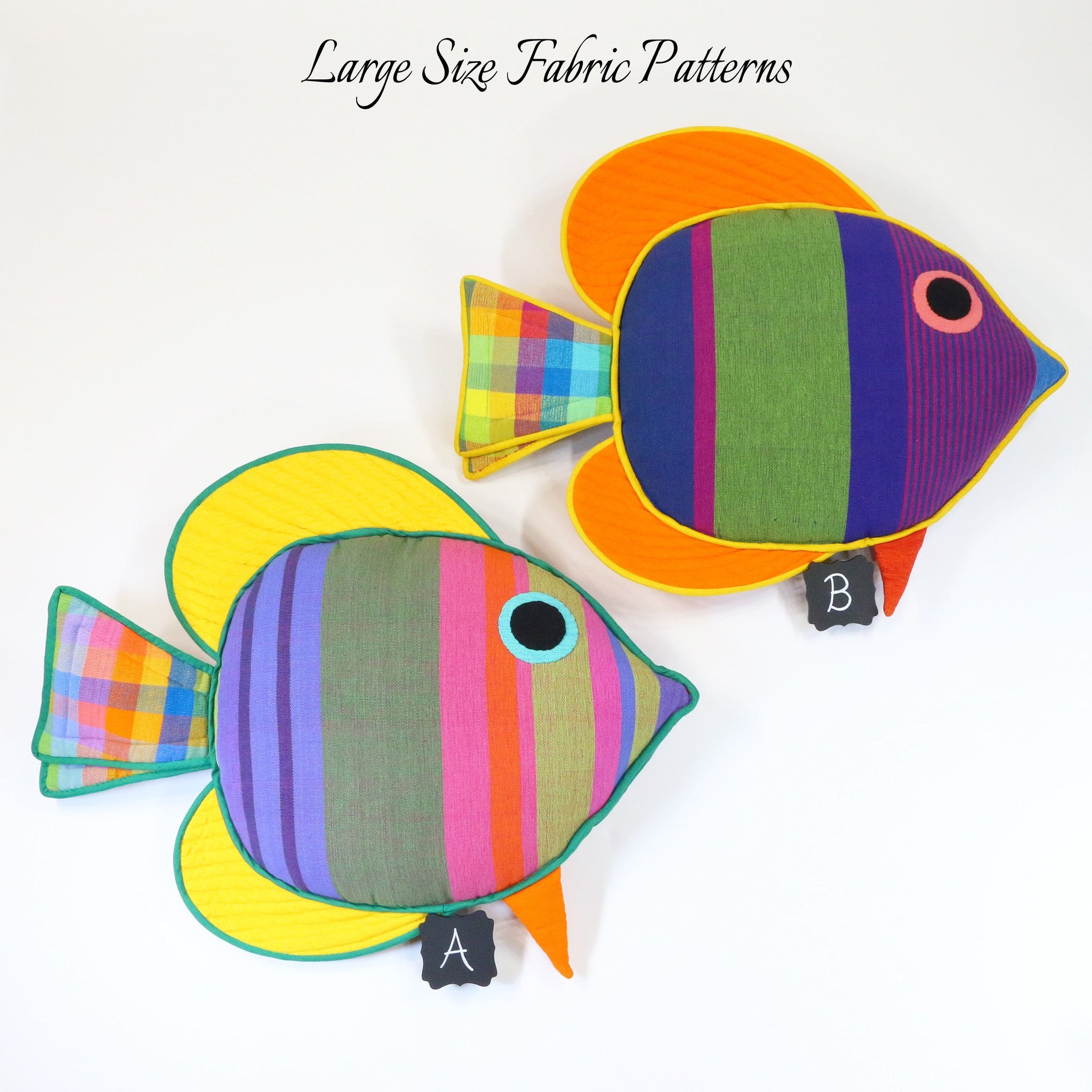 Cooper, the Sail Fin Fish – all large size fabric patterns shown