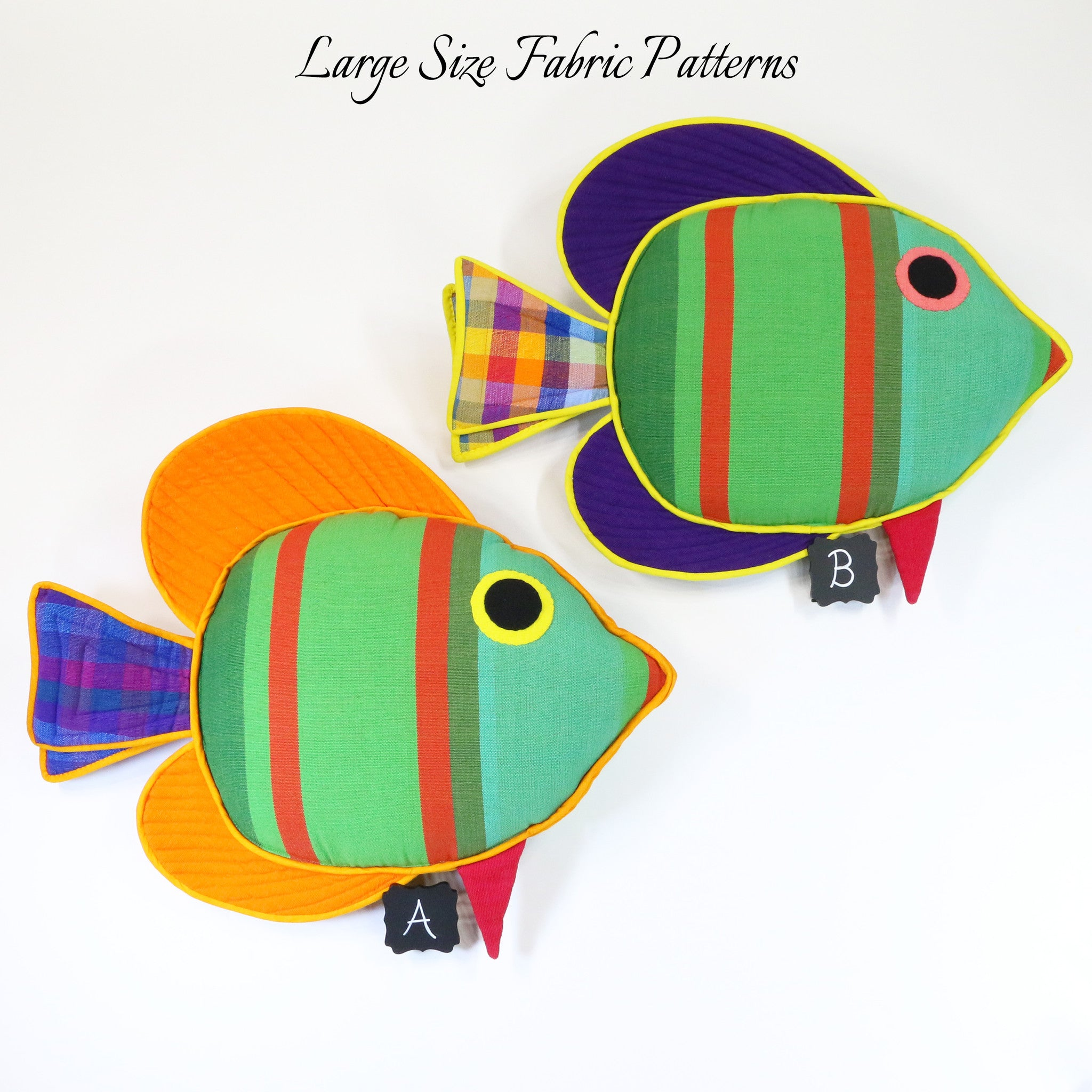 Quincy, the Sail Fin Fish – all large size fabric patterns shown