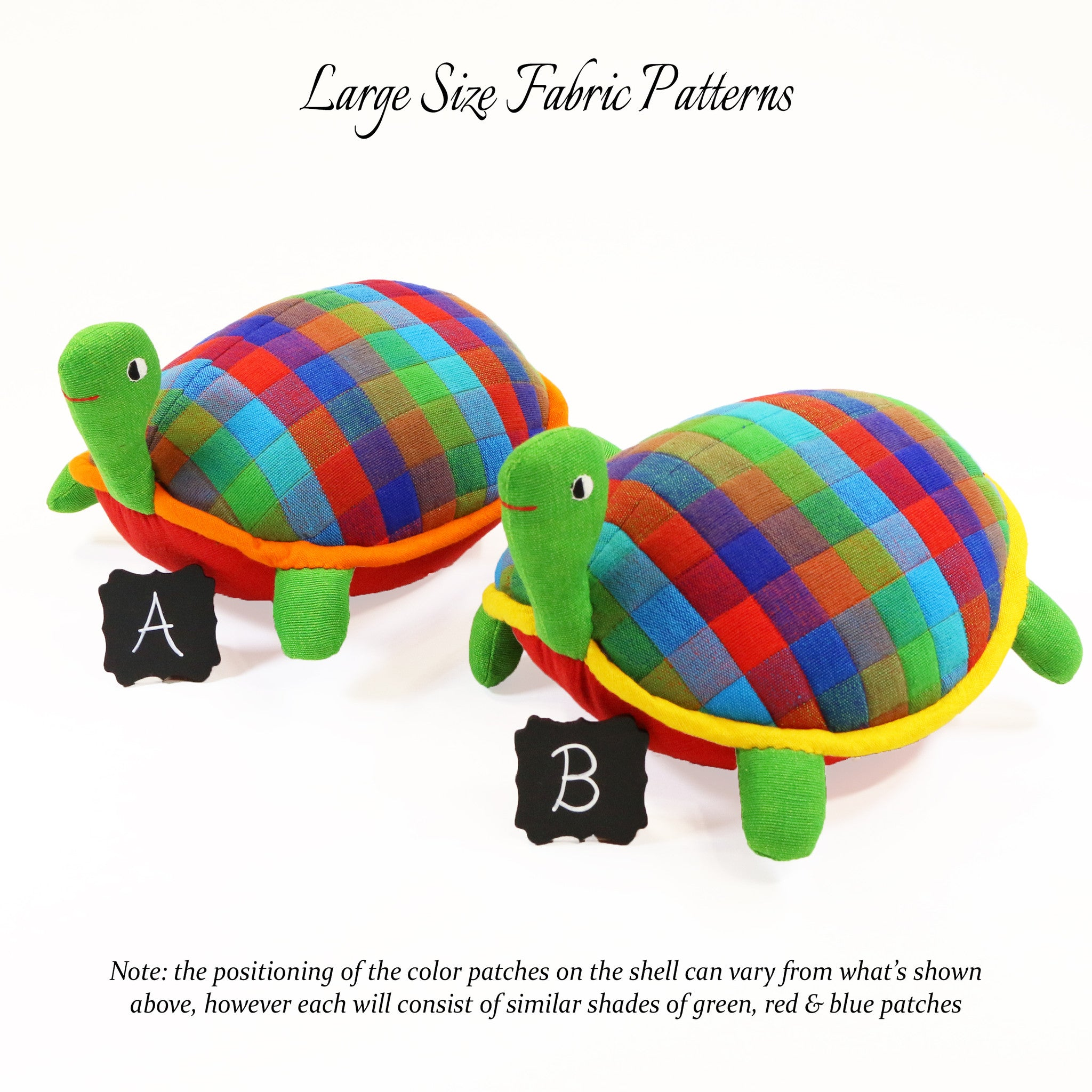 Terry, the Turtle – all large size fabric patterns shown
