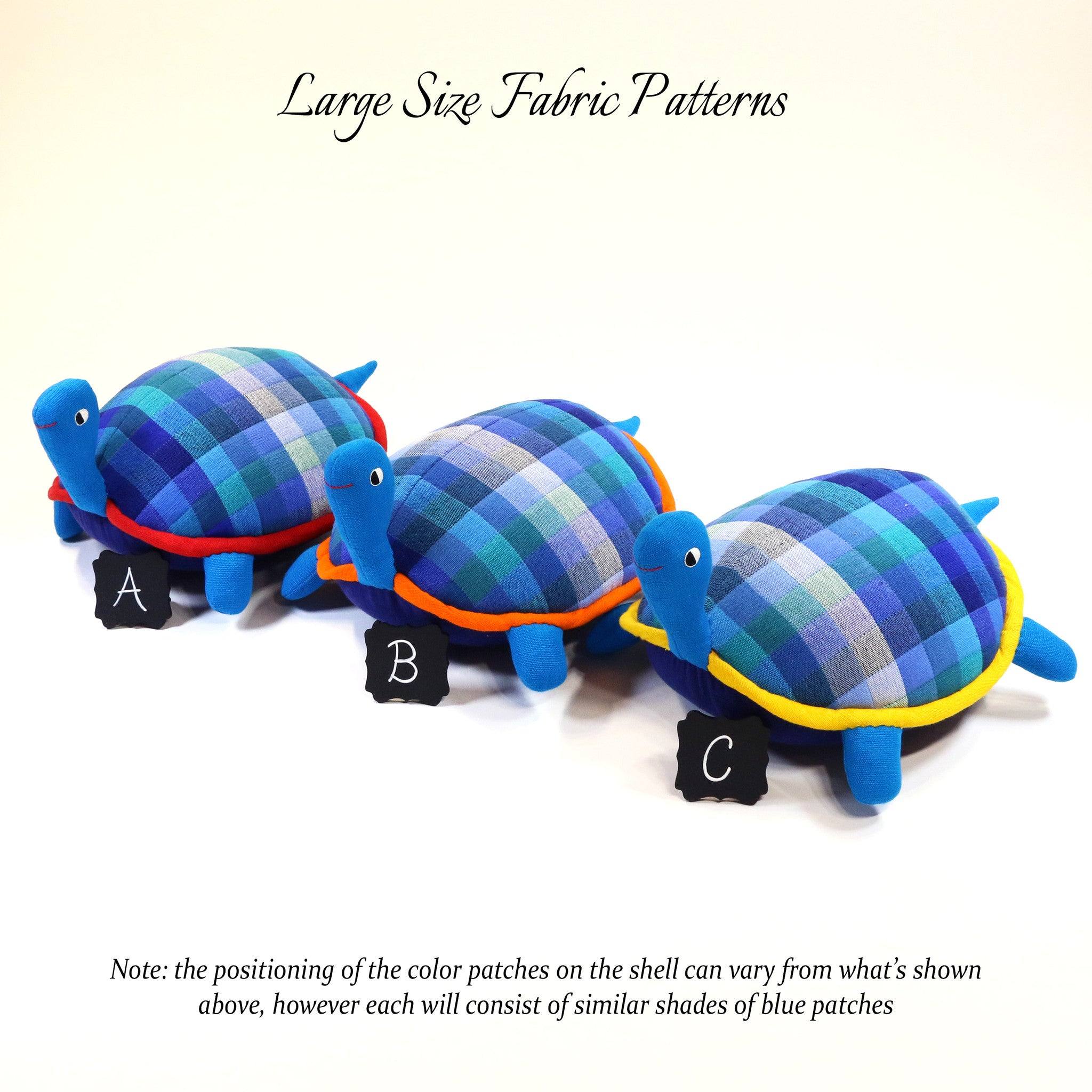 Tommy, the Turtle – all large size fabric patterns shown