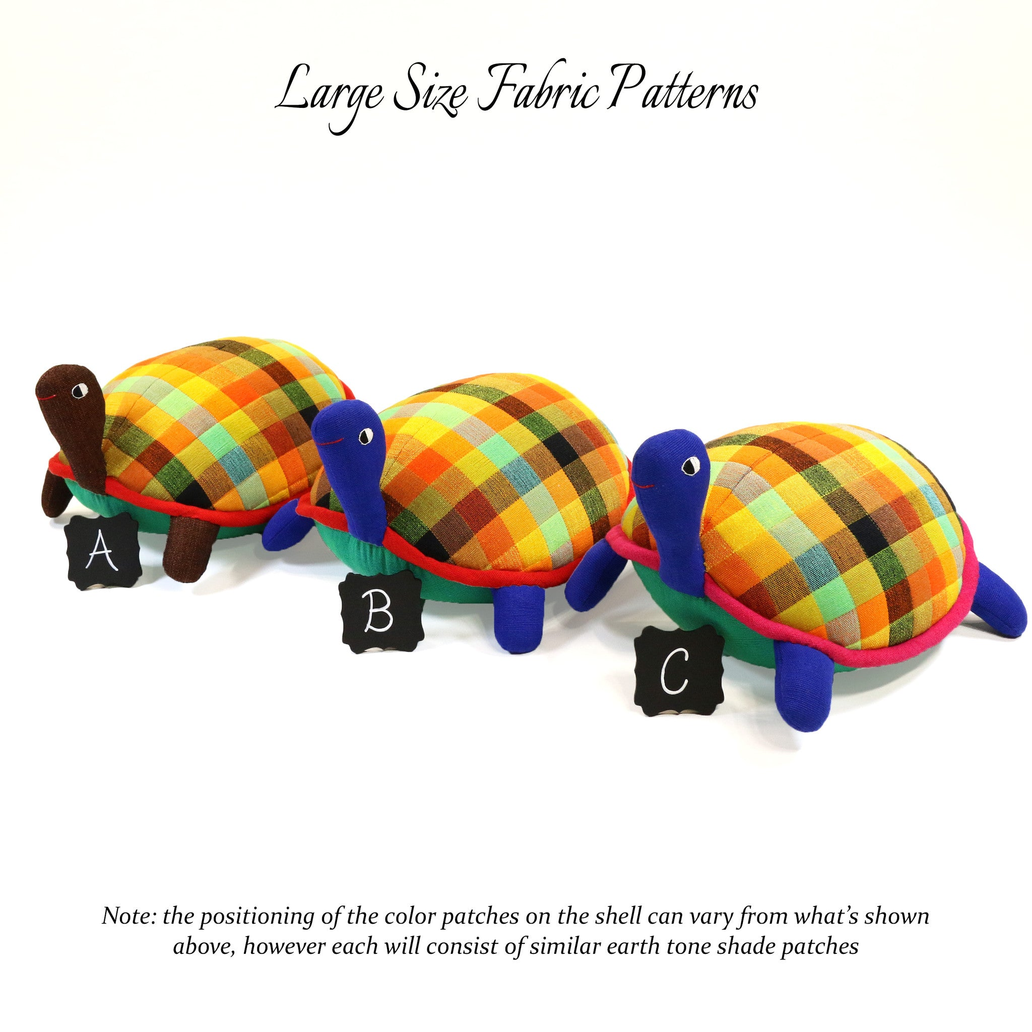 Toby, the Turtle – all large size fabric patterns shown