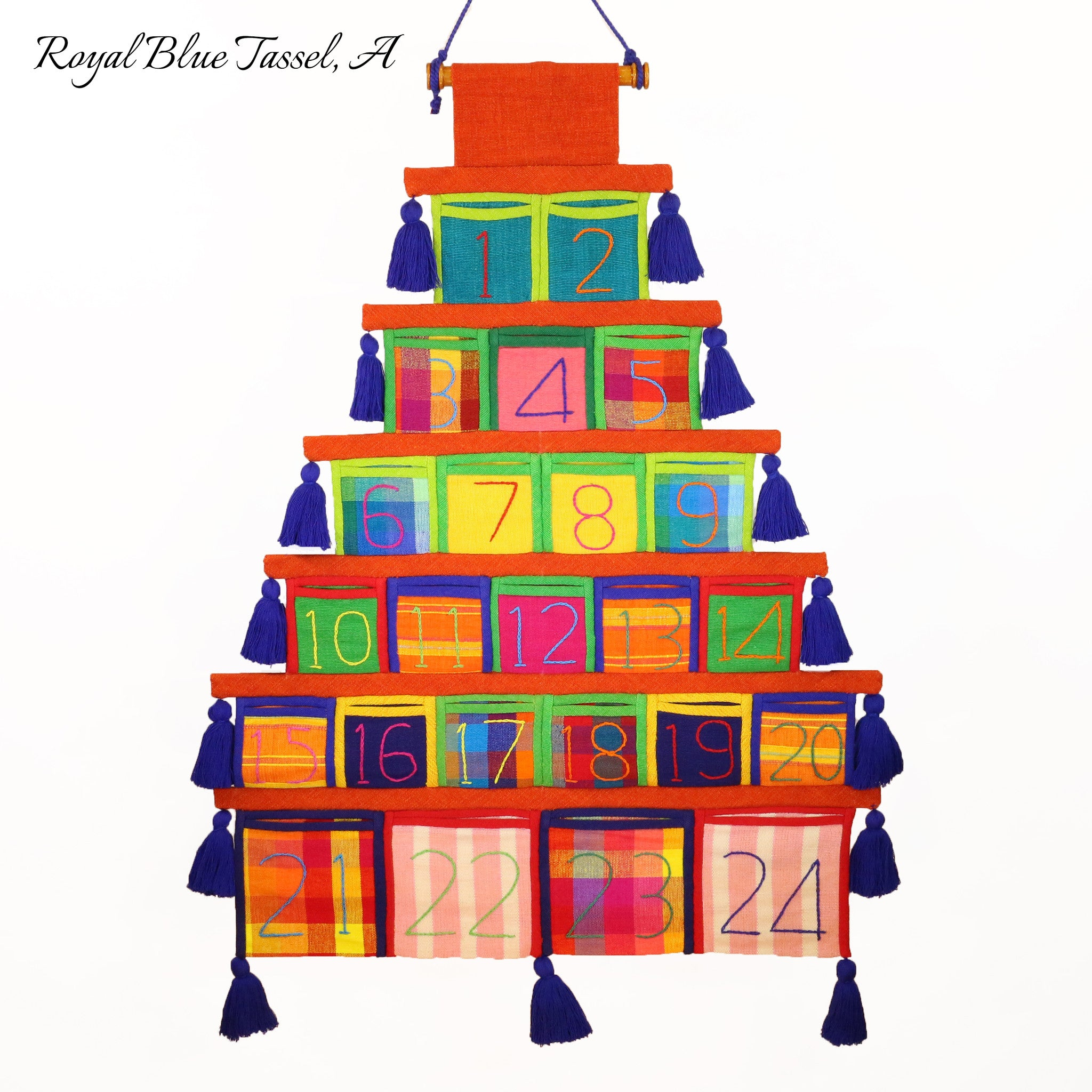 Advent Calendar, Burnt Orange Trim (with royal blue tassels)