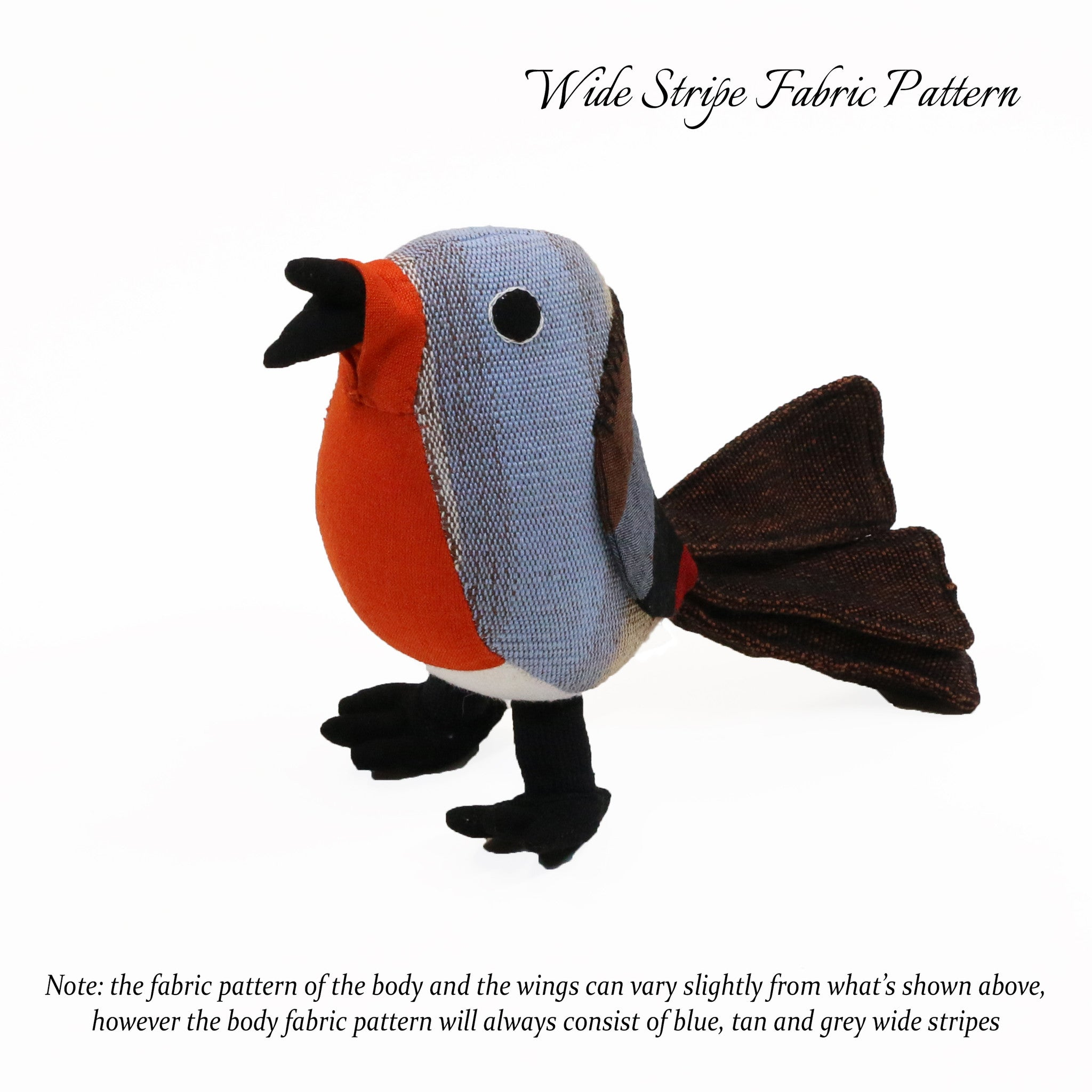Ricky, the Red Robin (wide stripe fabric pattern, front view)