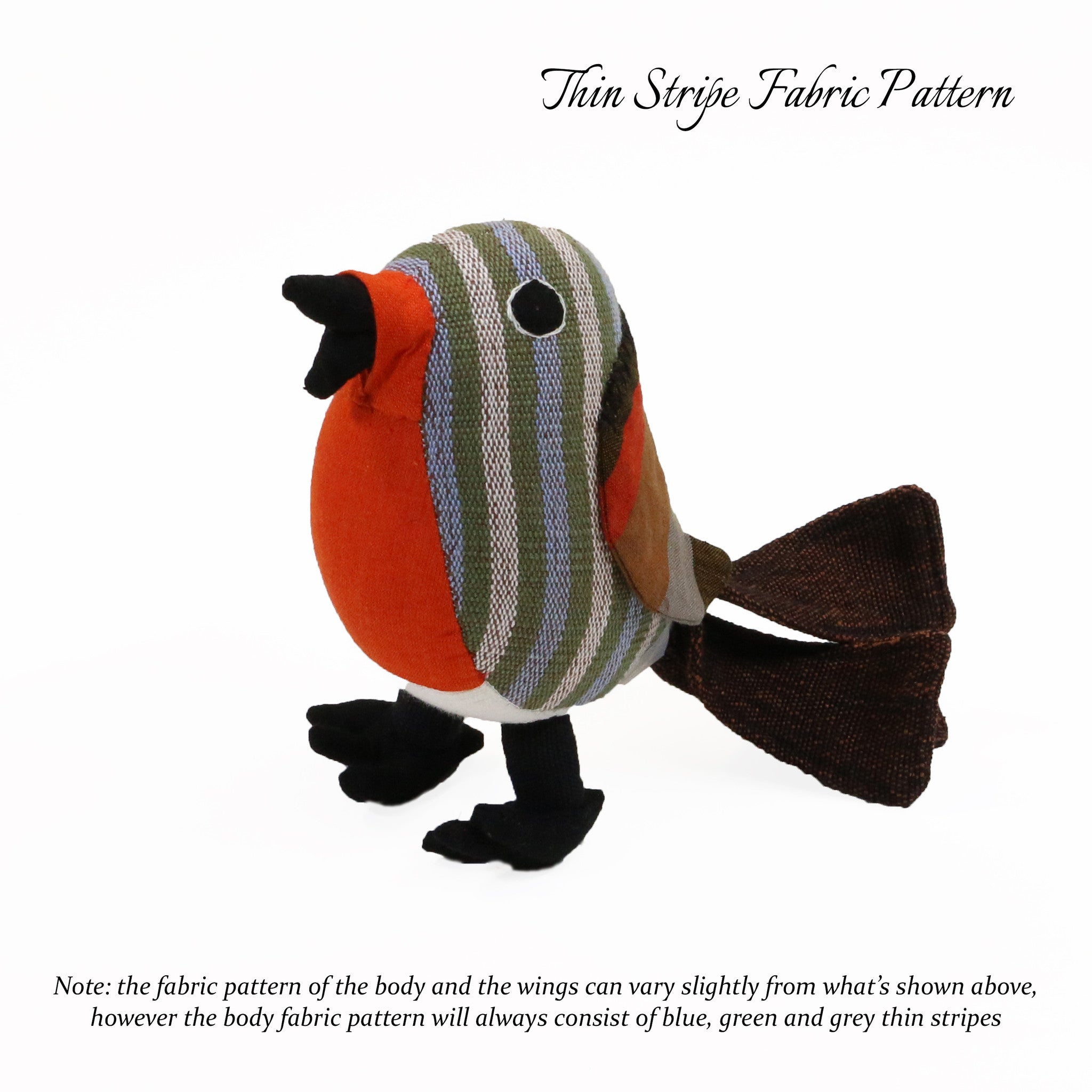 Ricky, the Red Robin (thin stripe fabric pattern, front view)