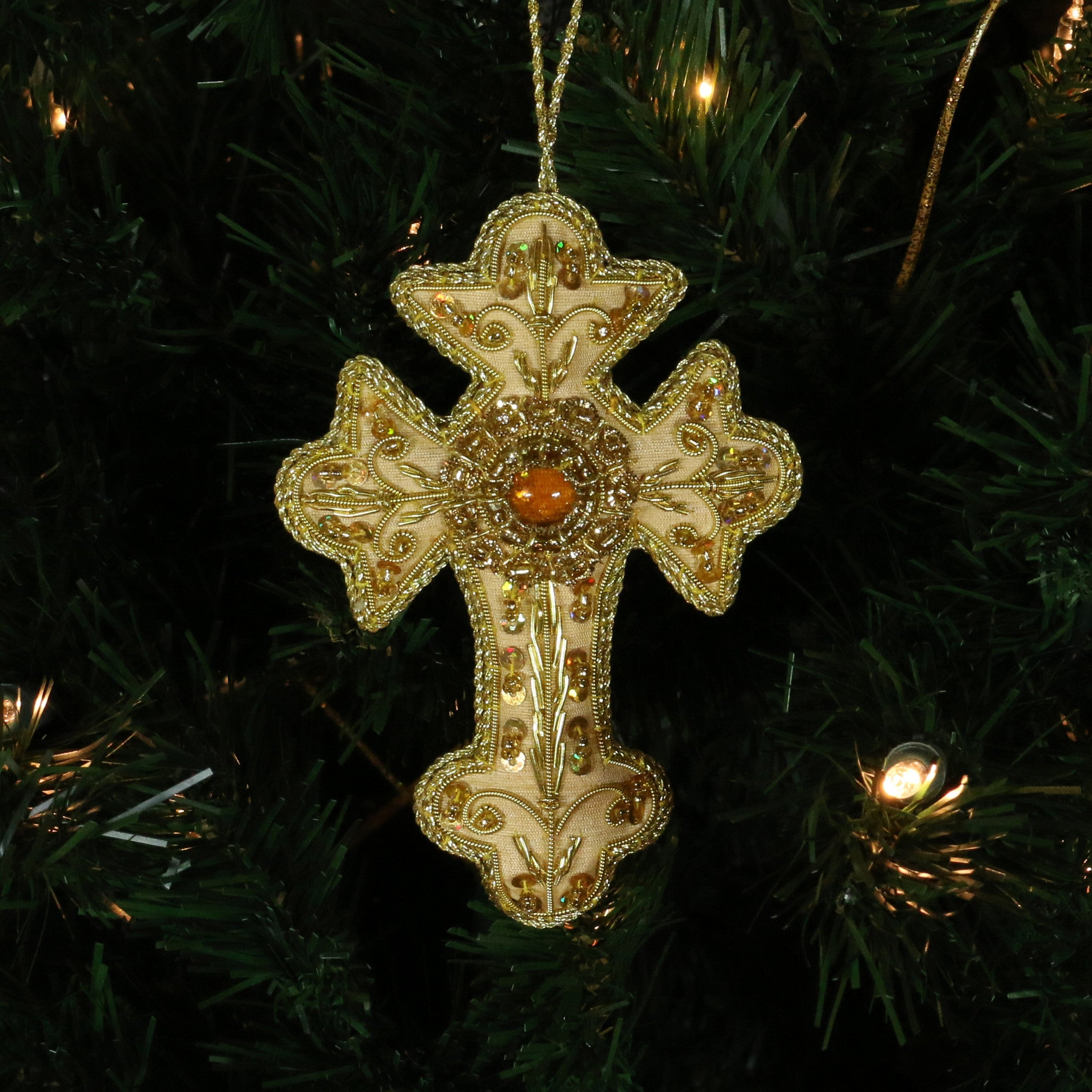Hand Beaded, Cross Shaped Ornament (gold color)