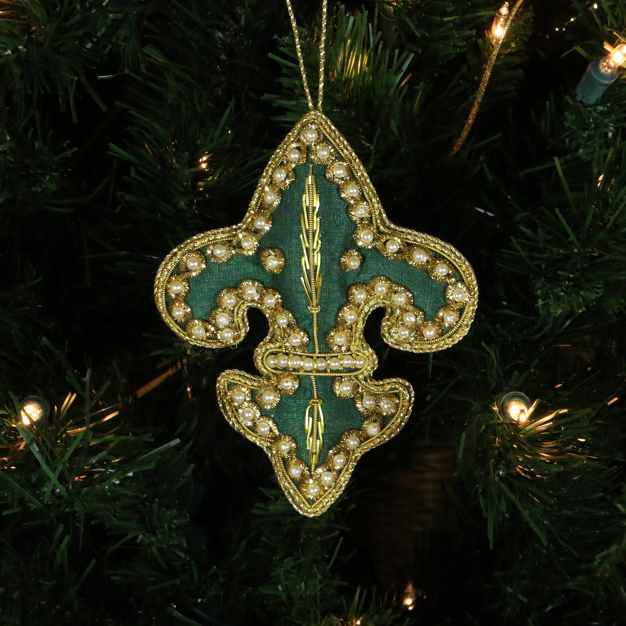 Hand Beaded, Fleur de lis Shaped Ornament (green color)