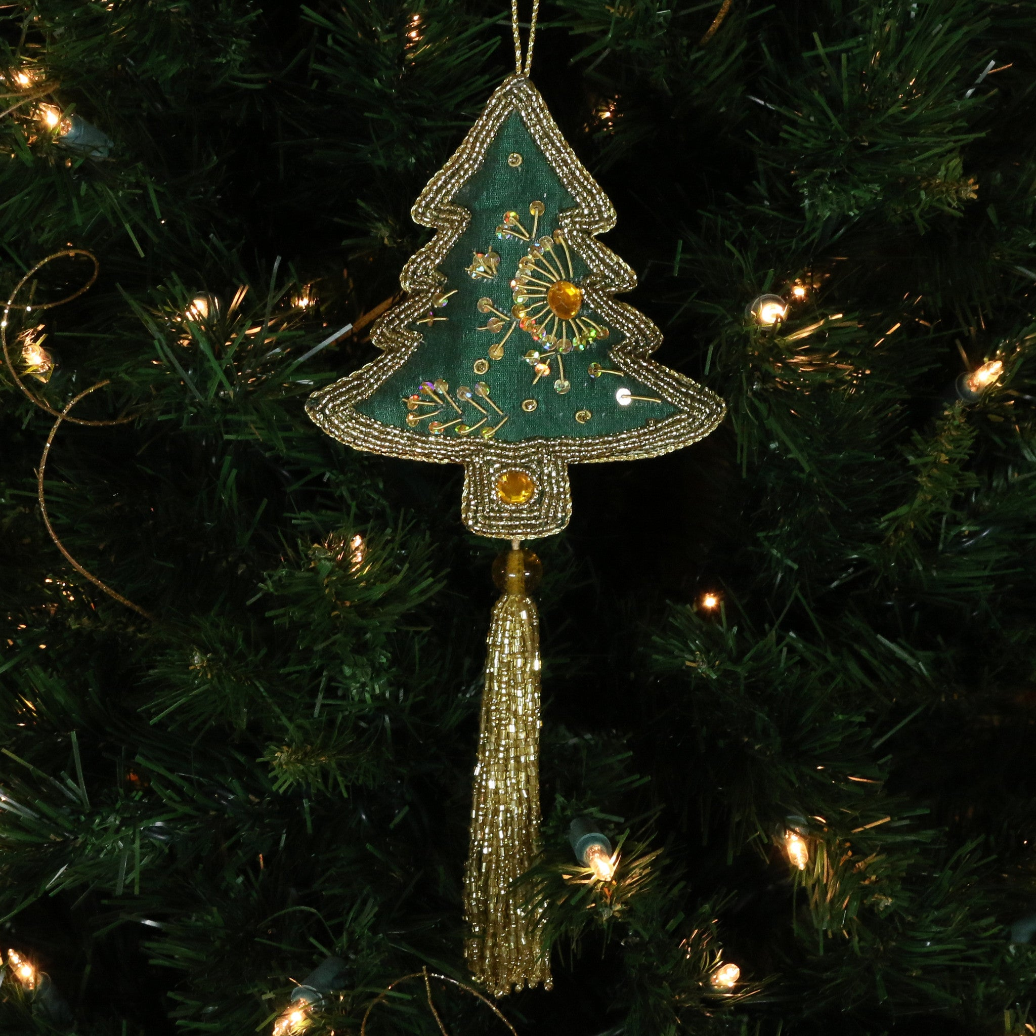 Hand Beaded, Tree Shaped Ornament (green color)