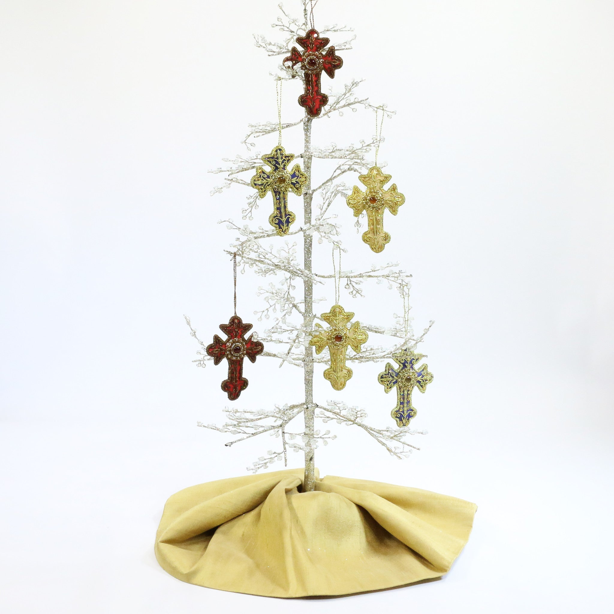Hand Beaded Christmas Ornament from India - Cross - Lionheart Imports