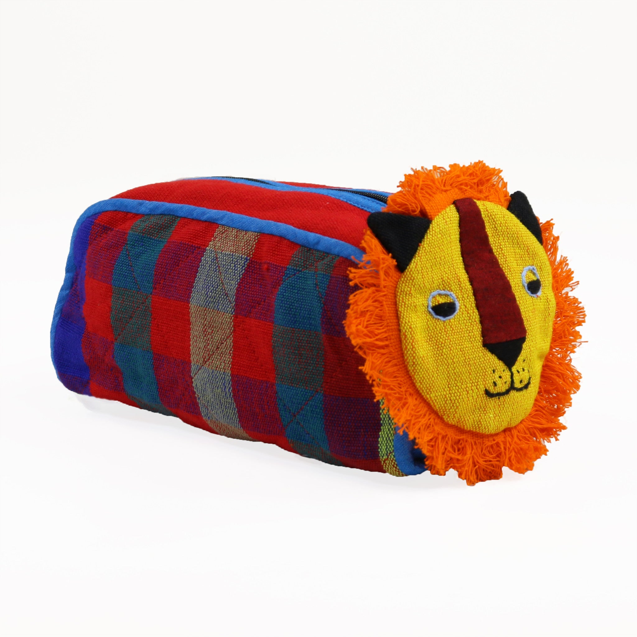 Lion Zip Pouch - Caboose fabric