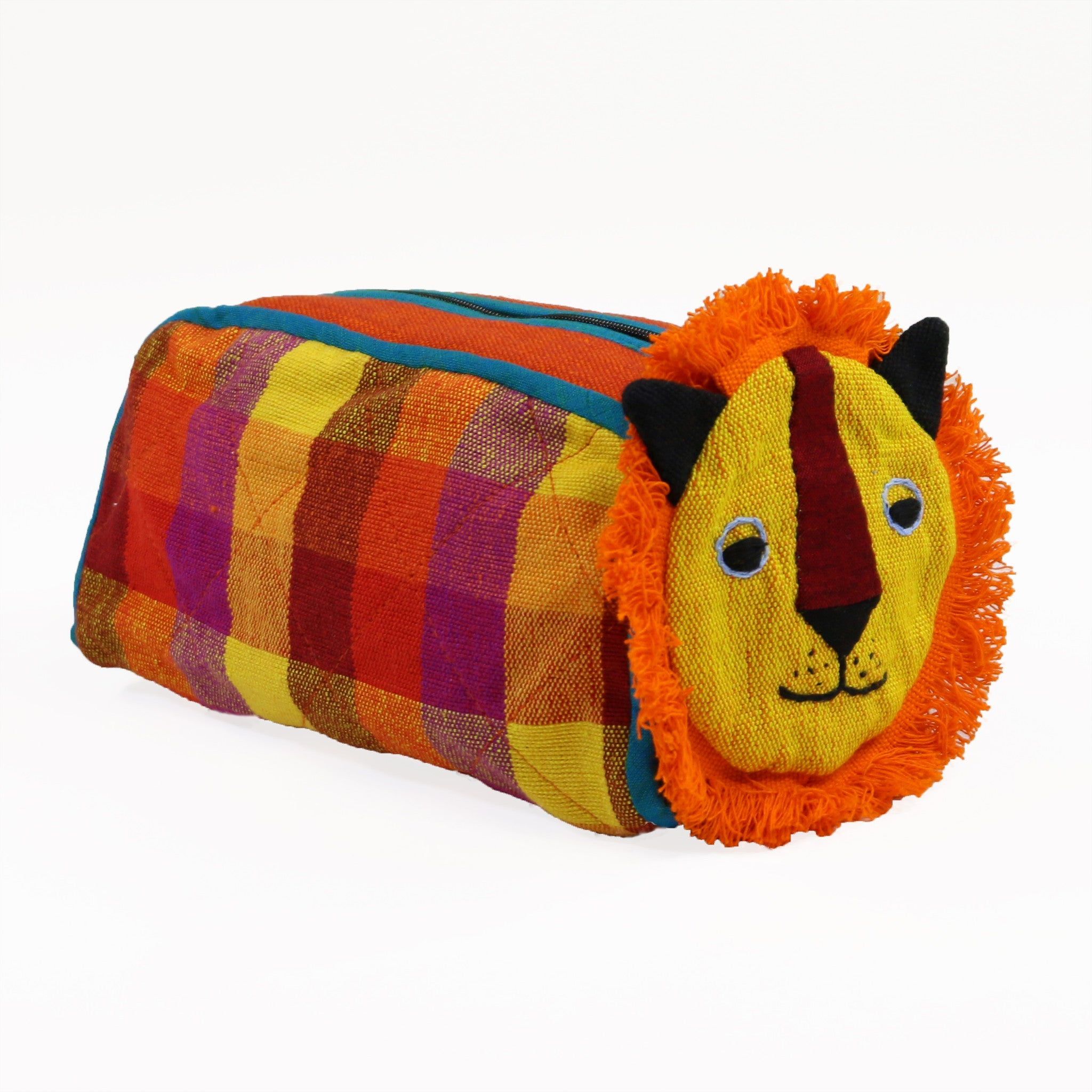 Lion Zip Pouch - Fireflies fabric