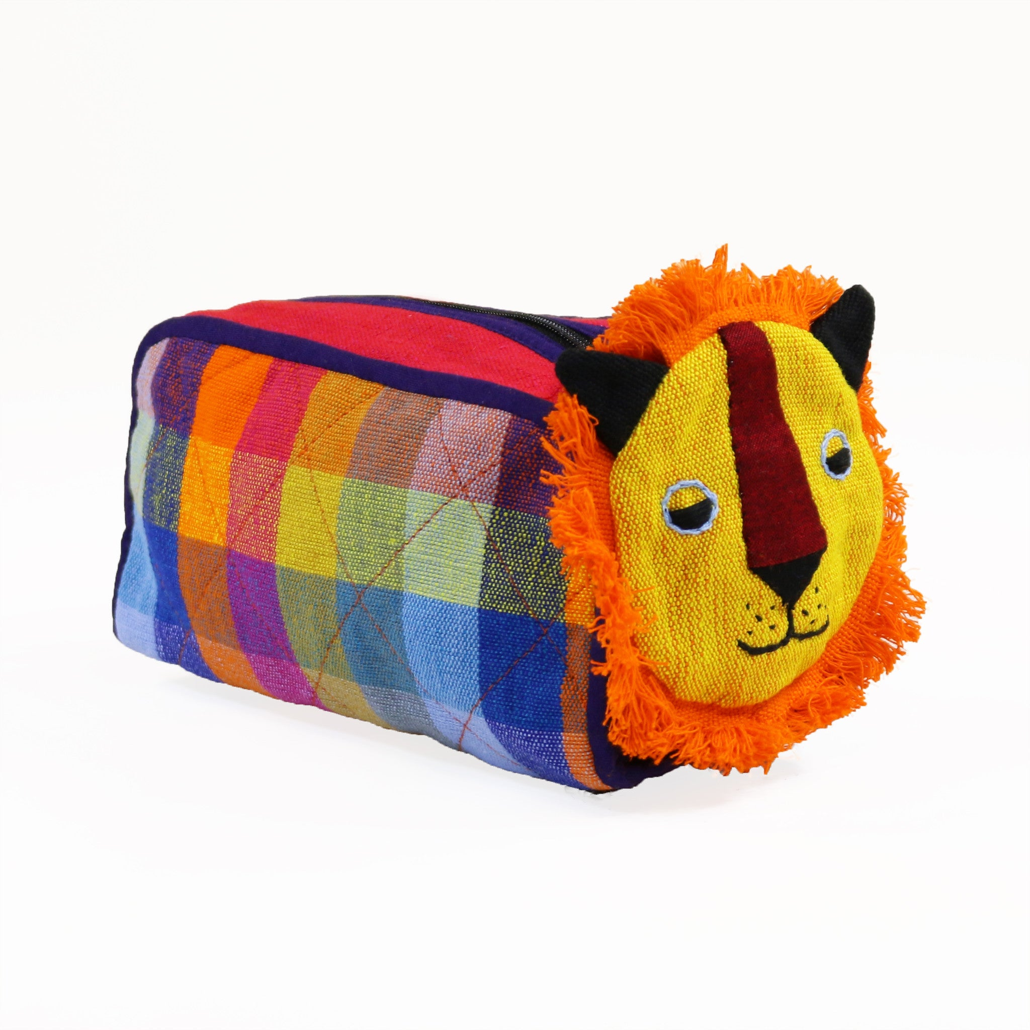 Lion Zip Pouch - Gingersnap fabric