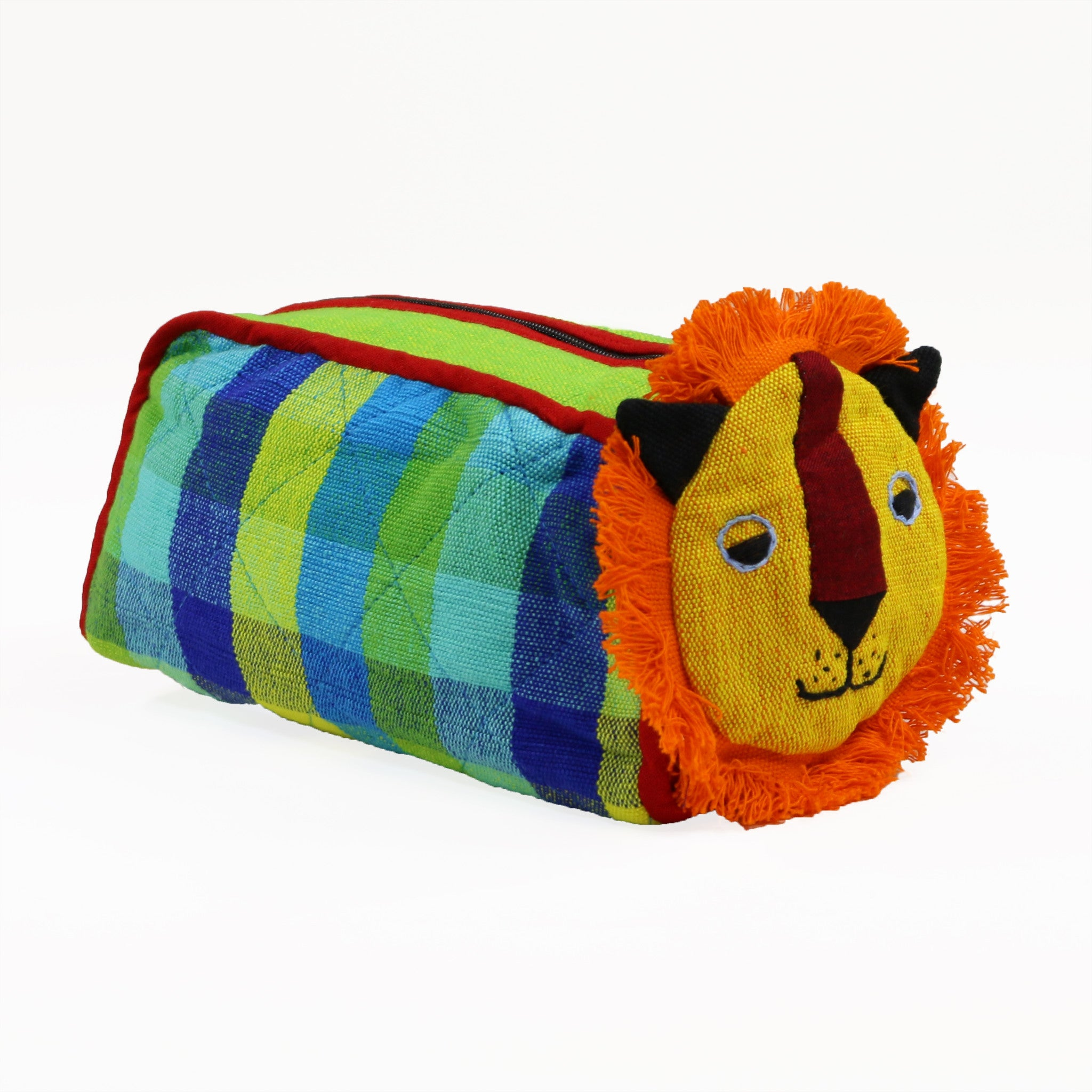 Lion Zip Pouch - Grasshopper fabric