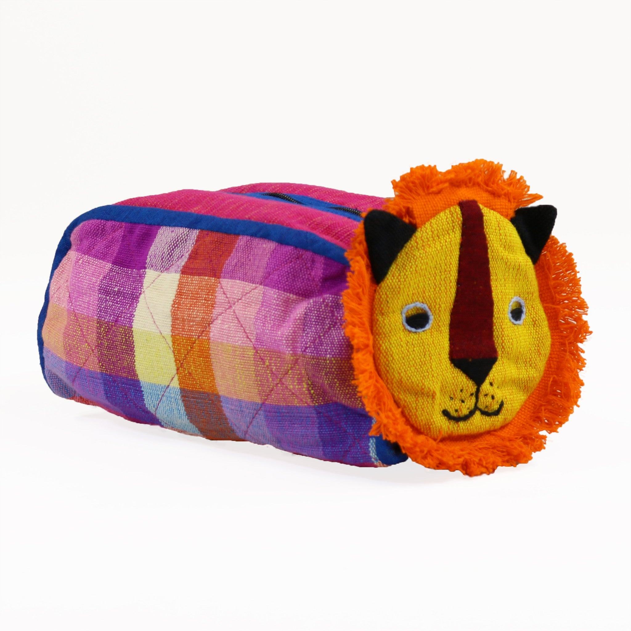 Lion Zip Pouch - Sugarplum fabric