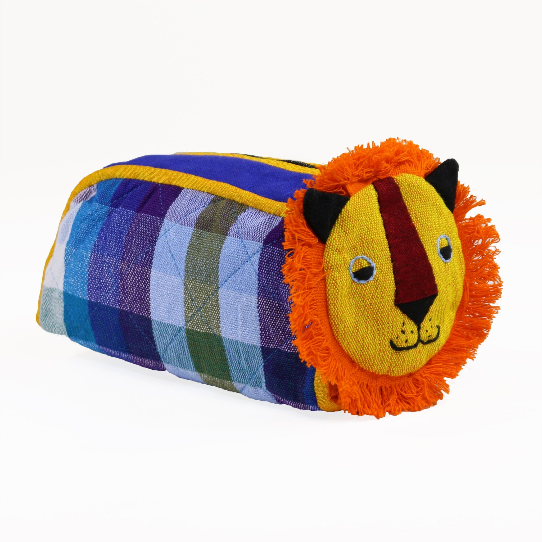 Lion Zip Pouch - Tadpole fabric