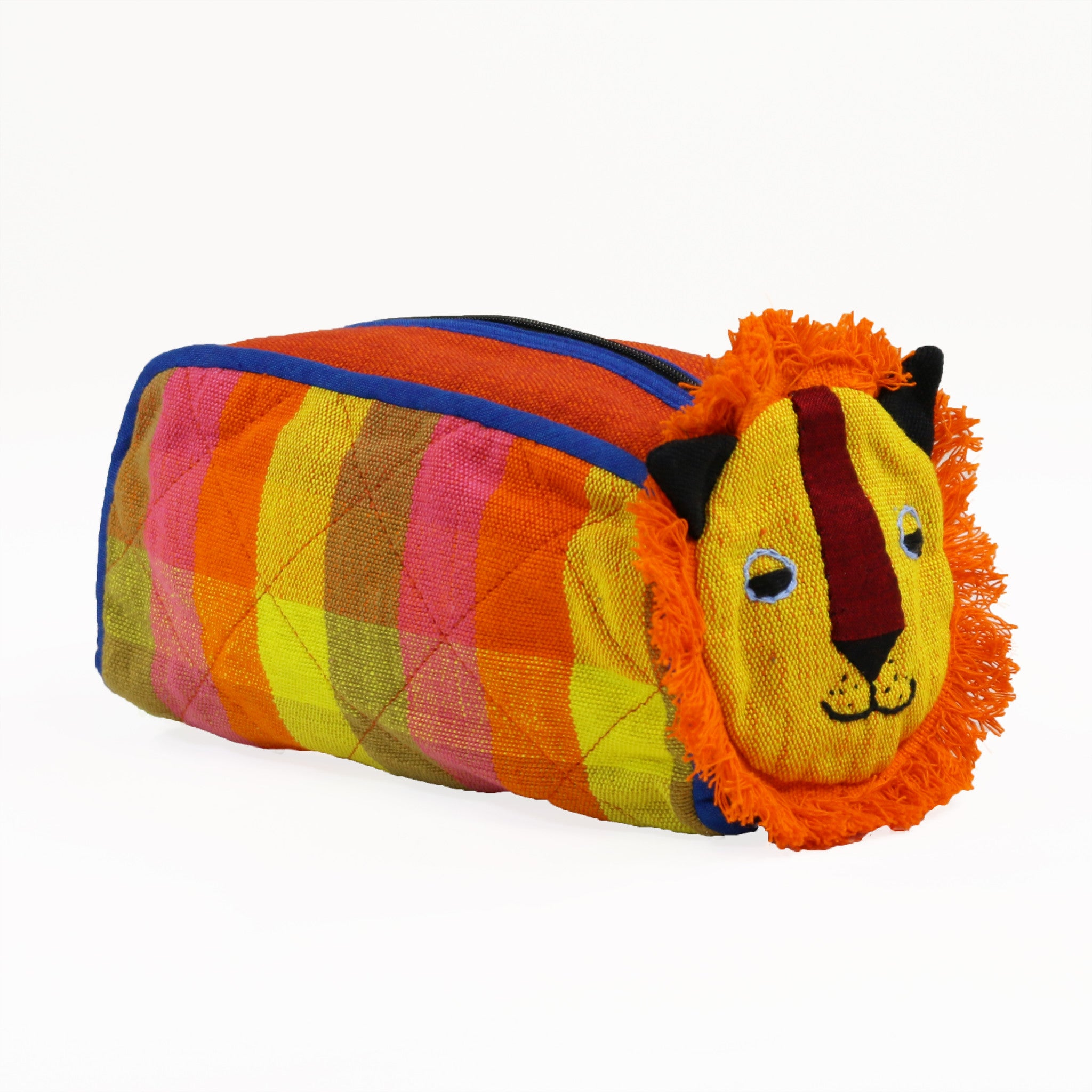 Lion Zip Pouch - Tangerine fabric