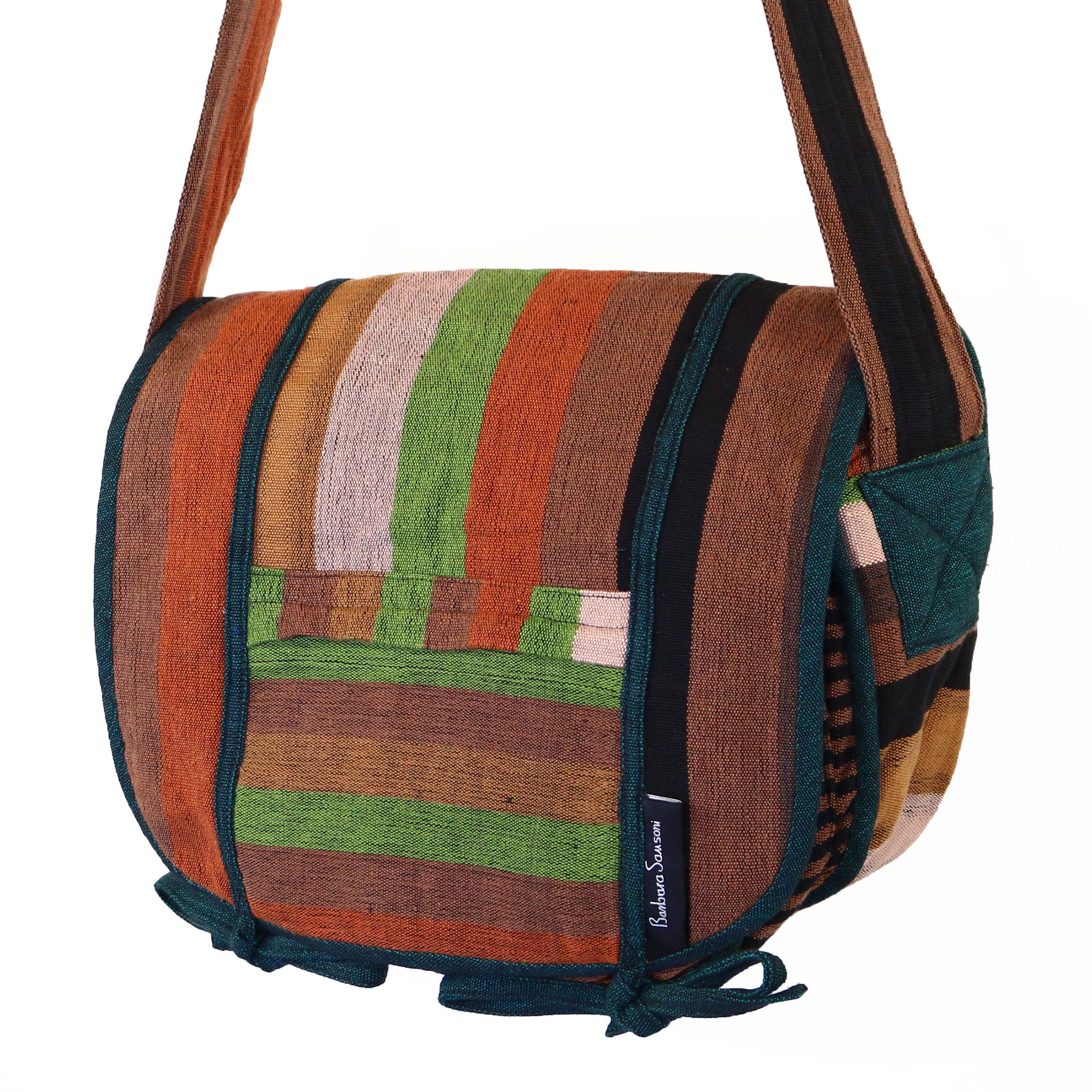 Barefoot Handwoven Messenger Bag - Sahara fabric shown