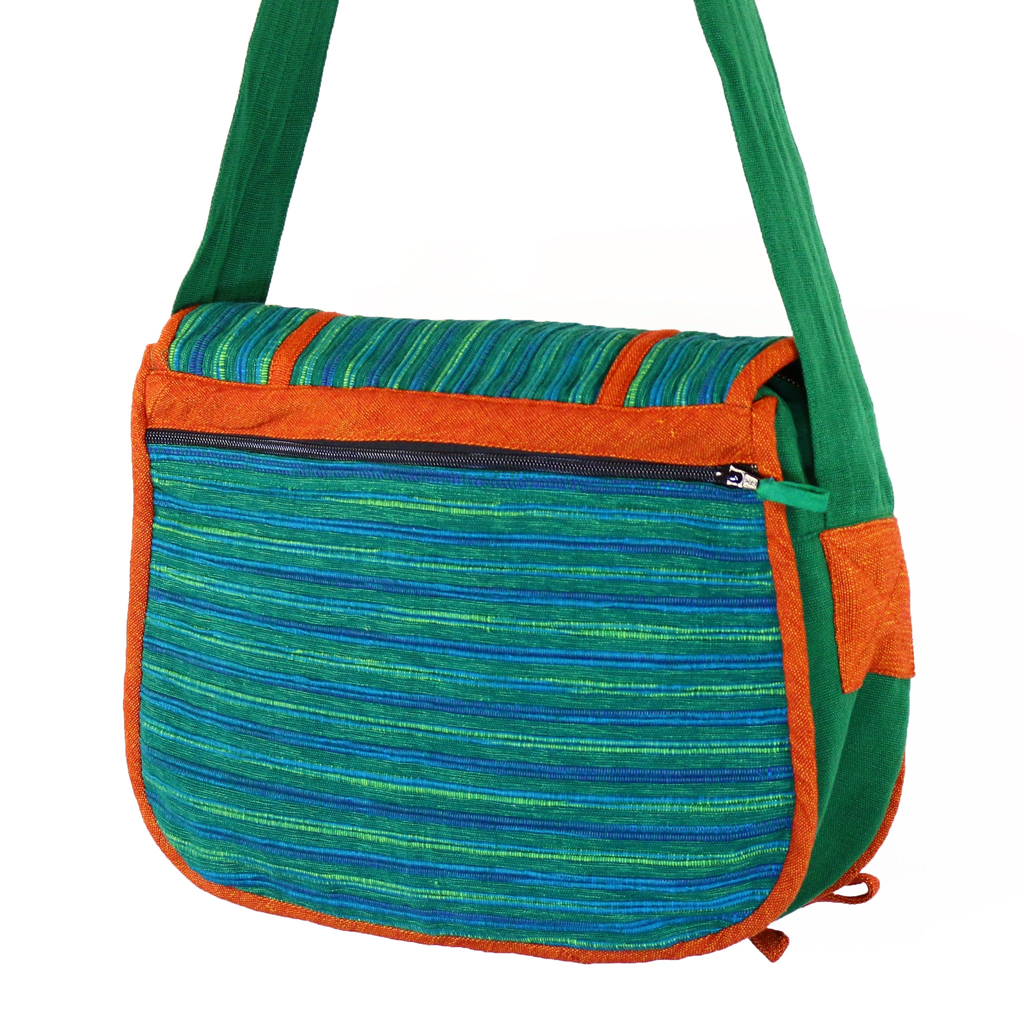 Barefoot Handwoven Messenger Bag - Wintergreen fabric shown