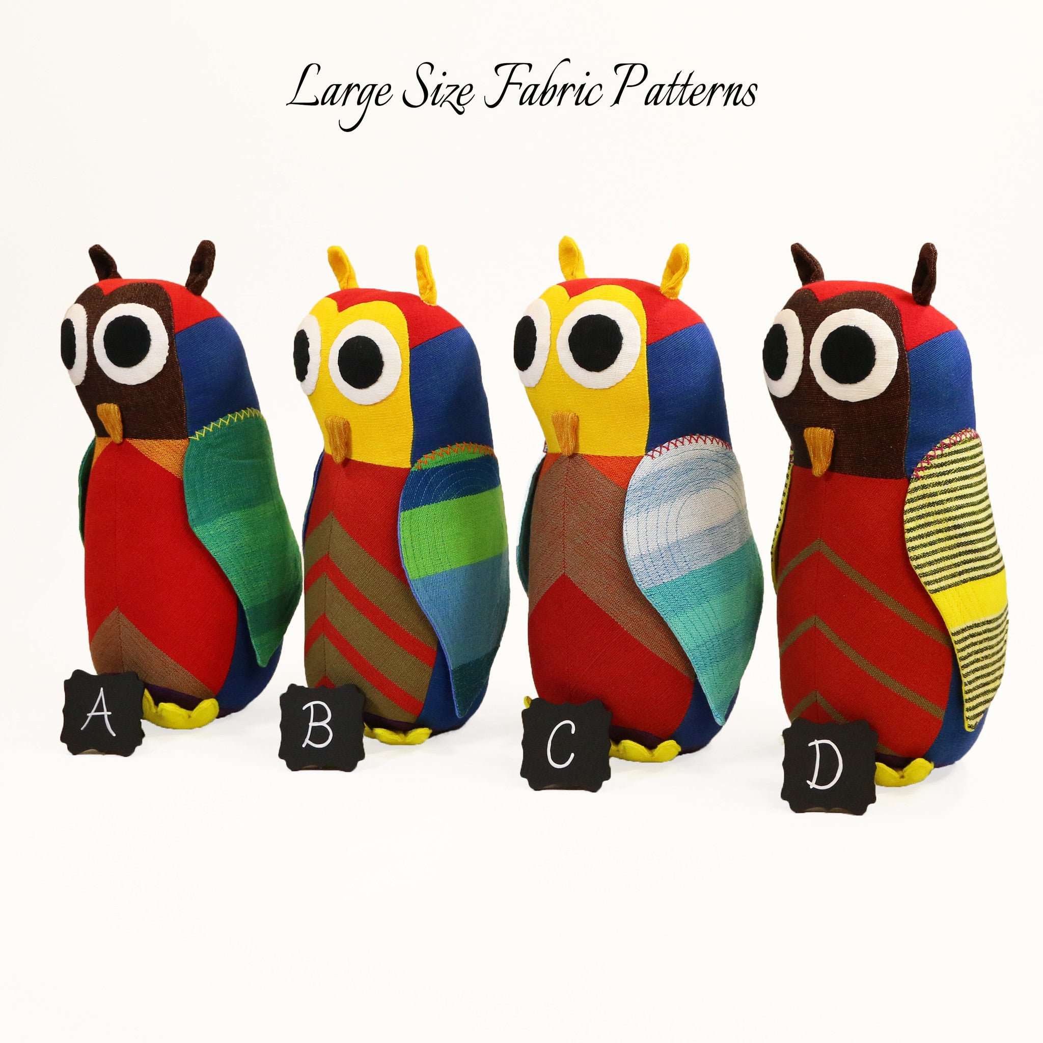 Harold, the Owl – large size fabric patterns shown