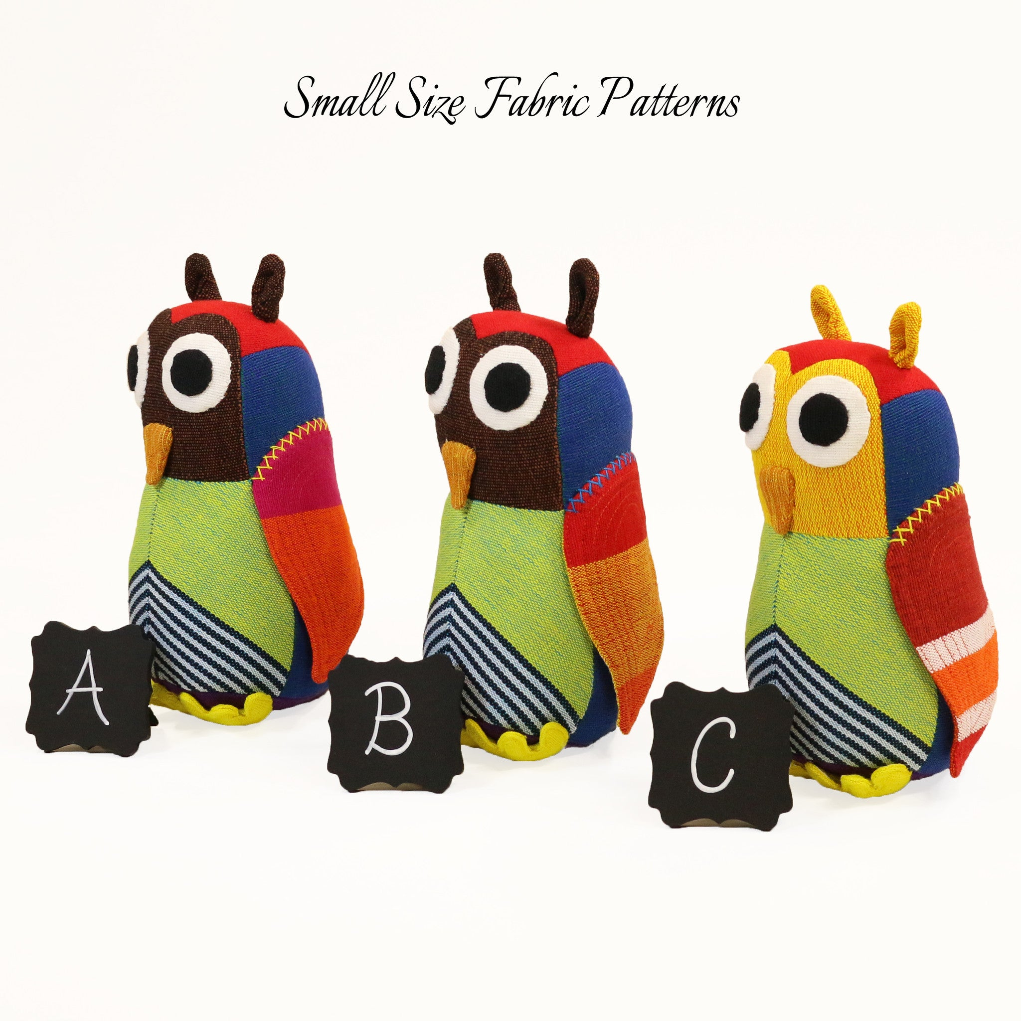 Harper, the Owl – all small size fabric patterns shown