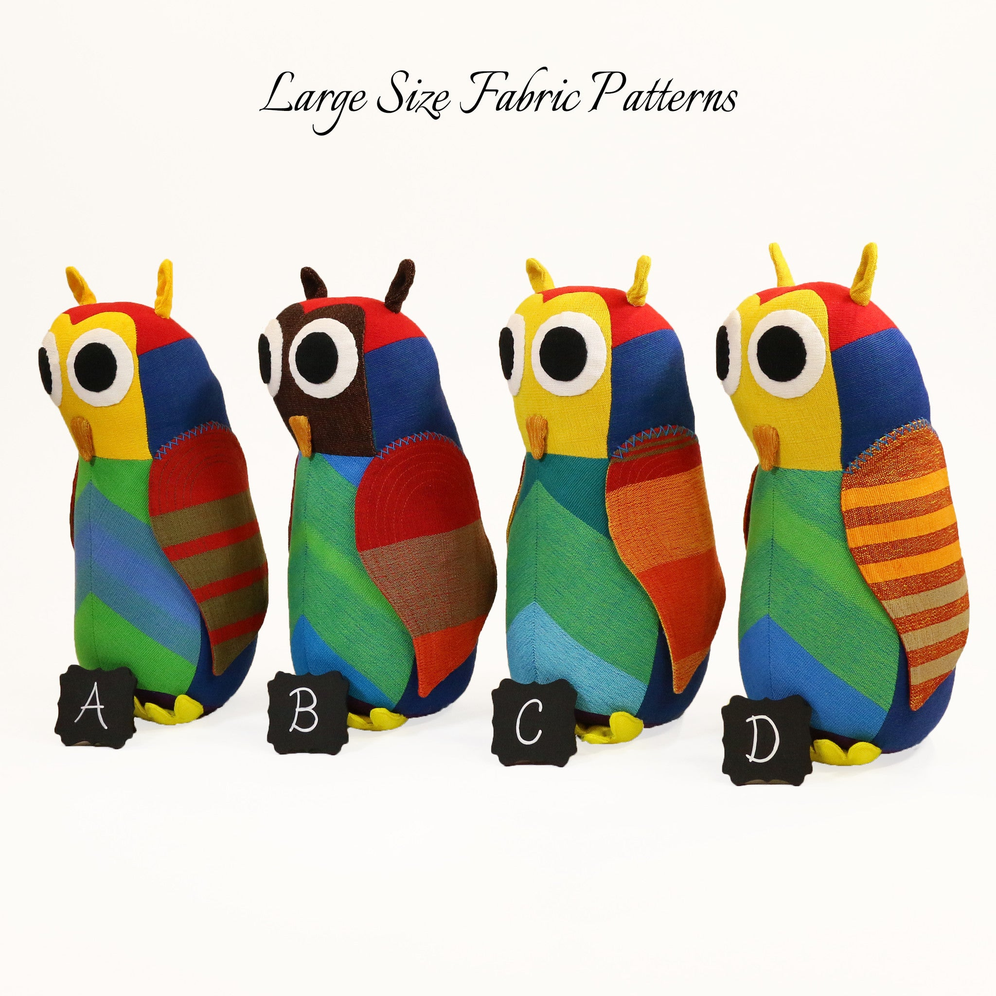 Harvey, the Owl – large size fabric patterns shown