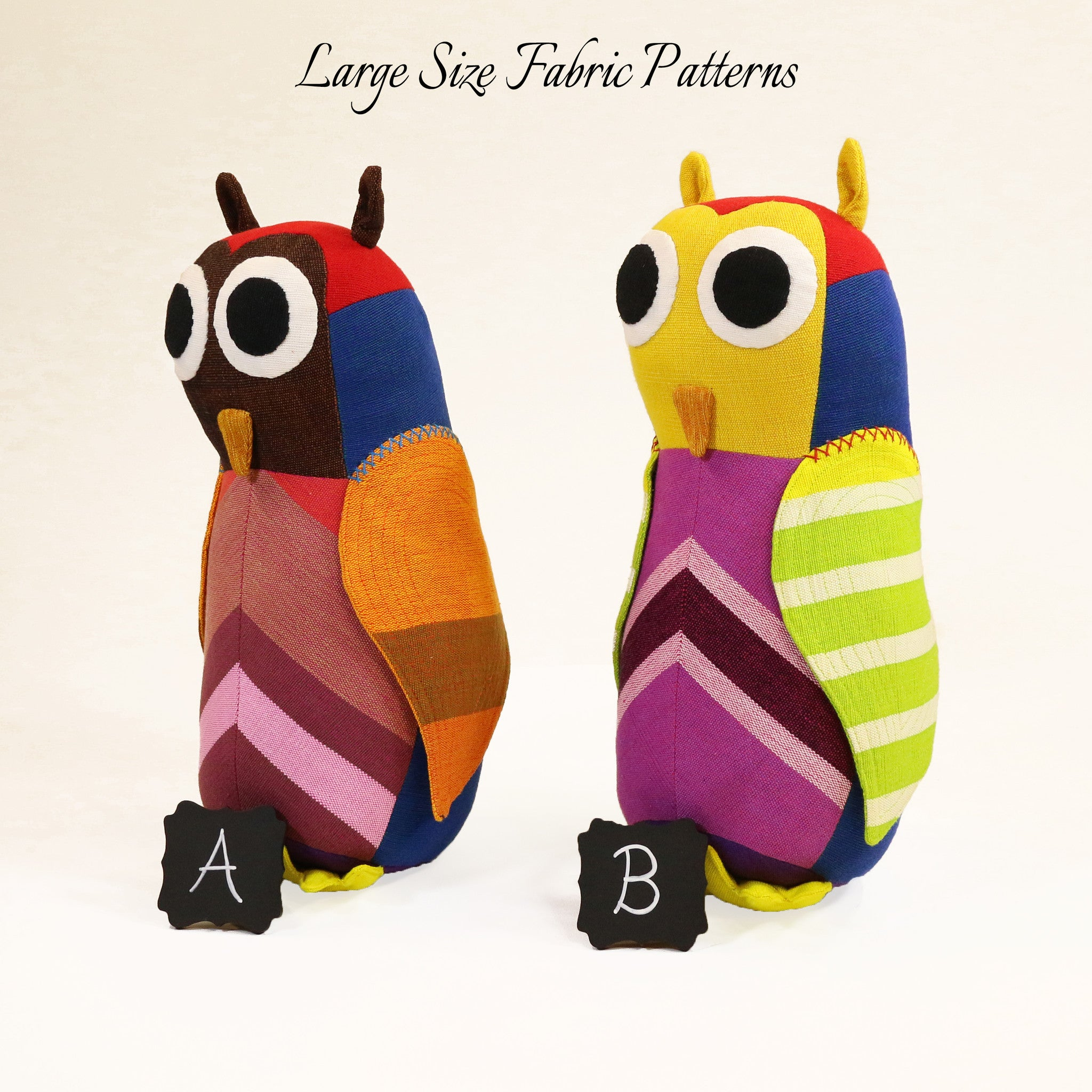 Hazel, the Owl – all large size fabric patterns shown