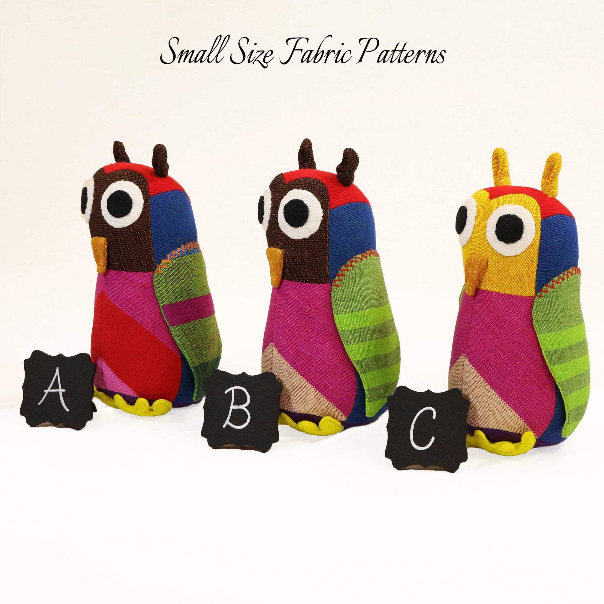 Hazel, the Owl – all small size fabric patterns shown