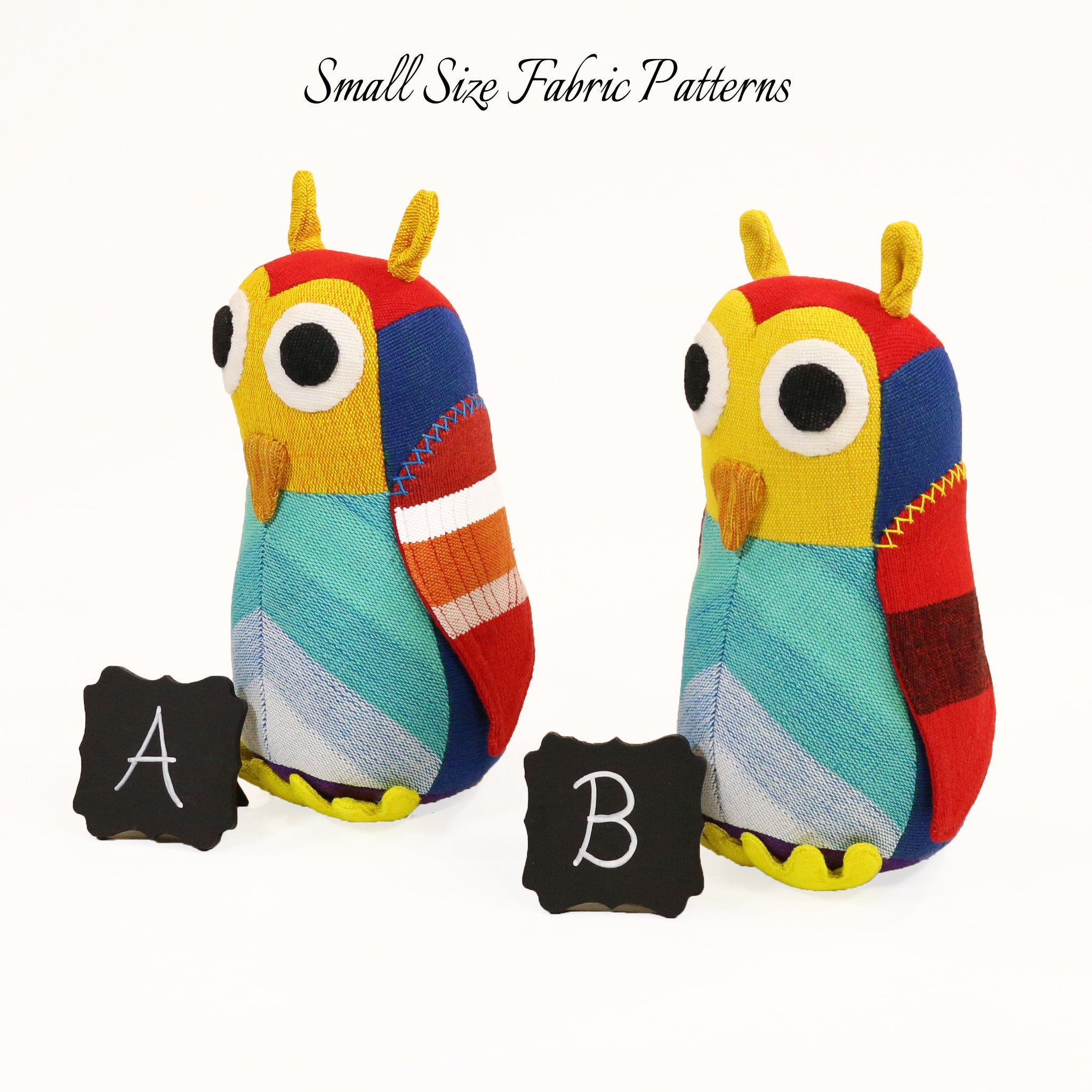 Huey, the Owl – all small size fabric patterns shown