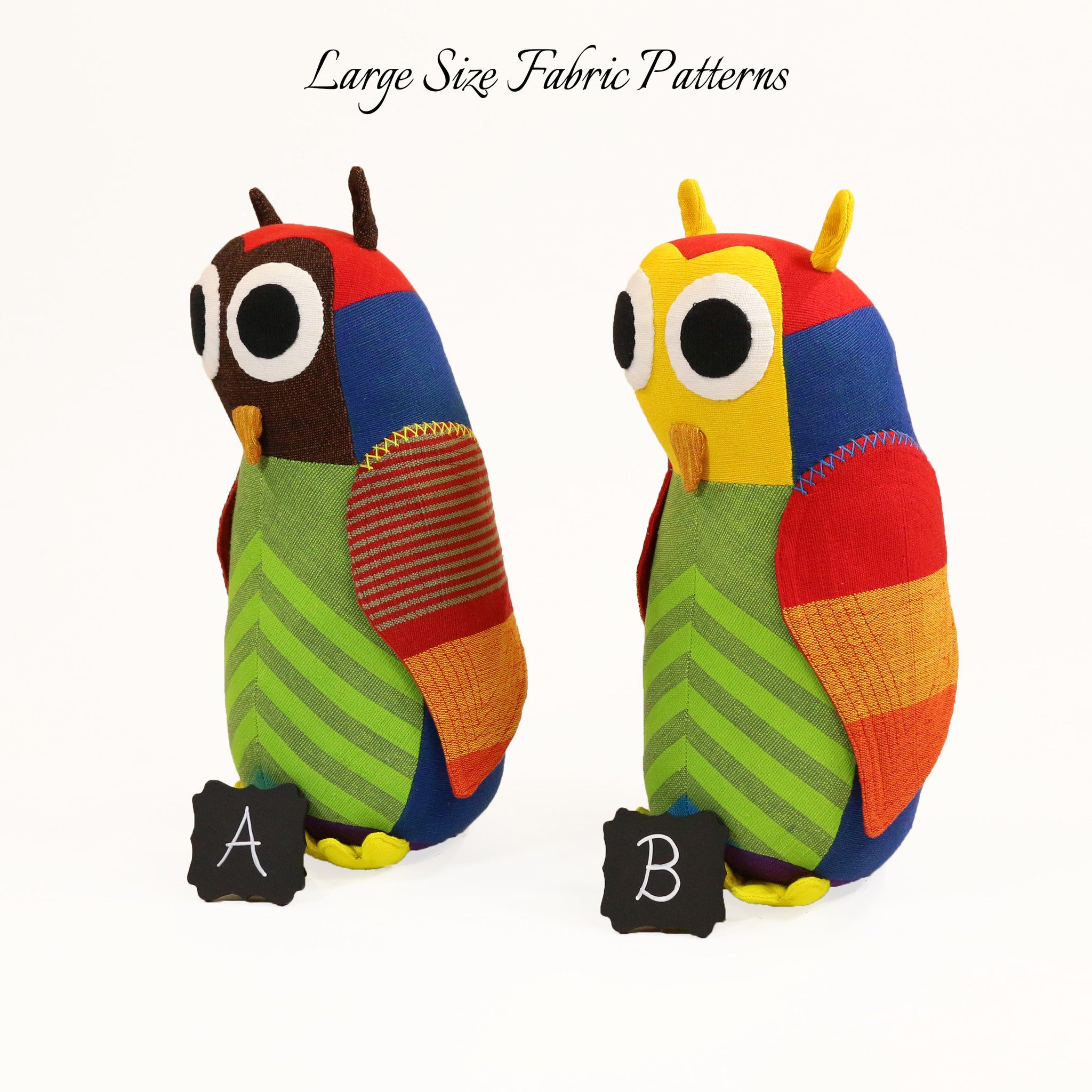 Hunter, the Owl – large size fabric patterns shown