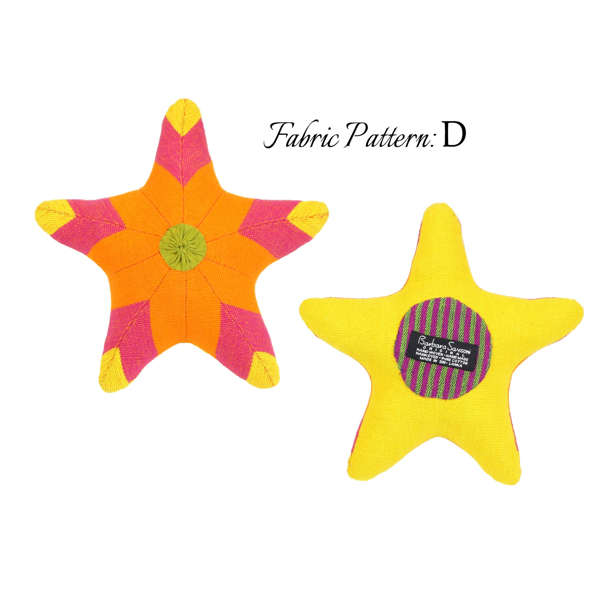 Sarah, the Starfish - pattern D (front & back view)
