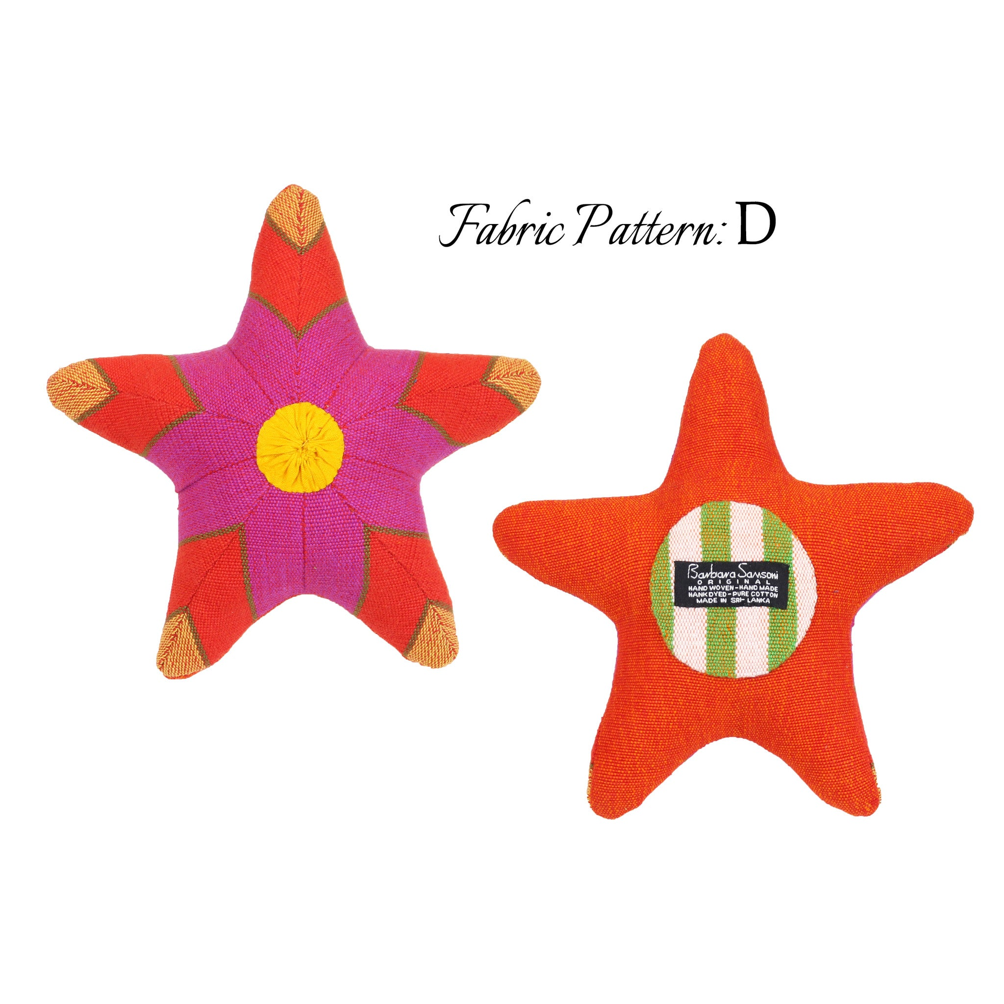 Sasha, the Starfish – pattern D (front & back view)