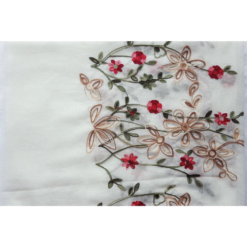 Floral Bouquet Scarf - Cream