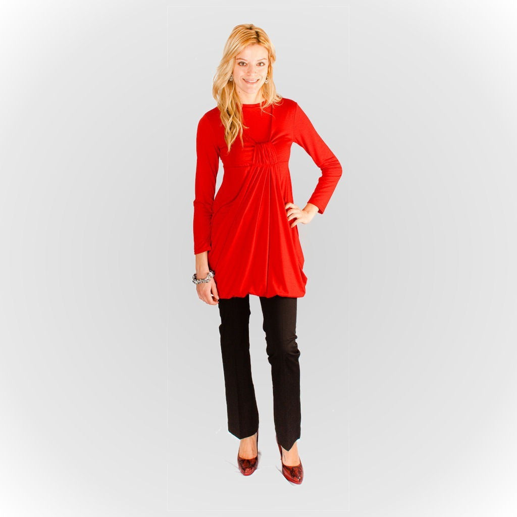Knot Front Tee - Red