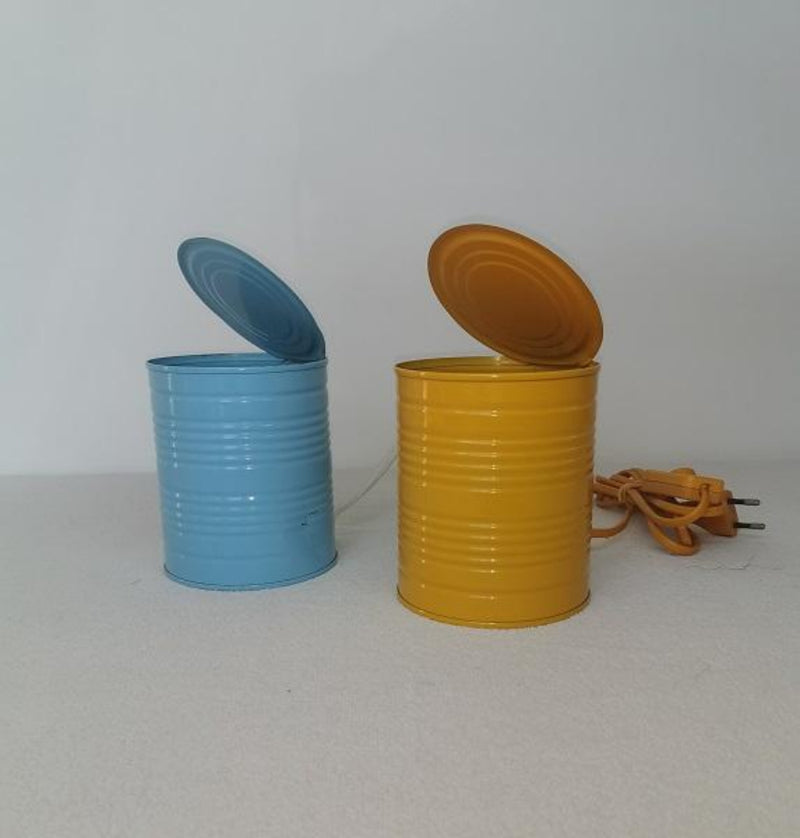 Table lamp tin can bleu and yellow - Vrieland design - 1980s