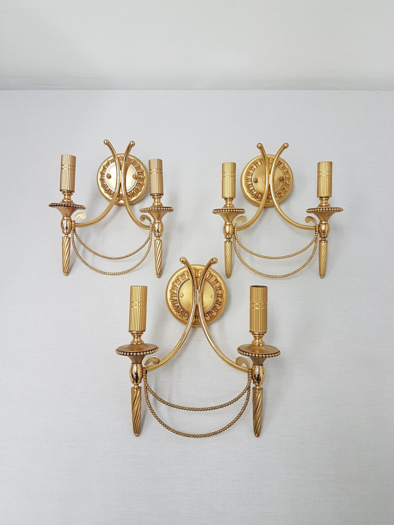 Set of 3 vintage Sciolari wall lights gold plated brass Italian 1960s