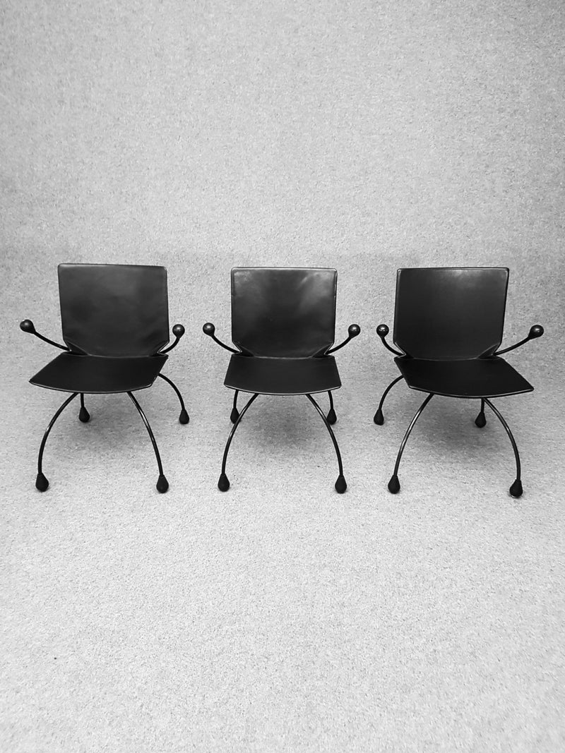 Set 3 vintage black armchairs - Pierre Mazairac and Karel Boonzaaijer for Young International - 1980s