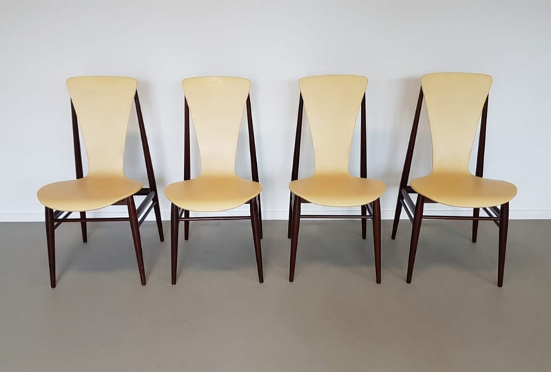 Vintage dutch danish design dining floating chairs fristho inger klingenberg