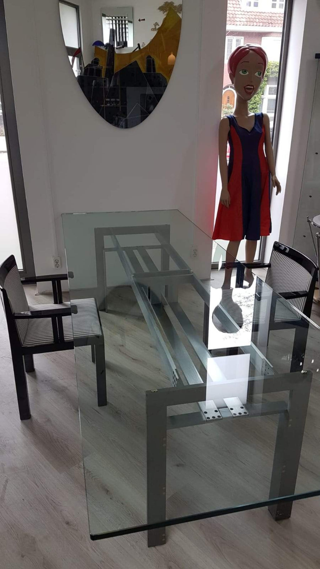 Brushed steel base dining table with glass topp - Doge - Carlo Scarpa for Simon - 1970s