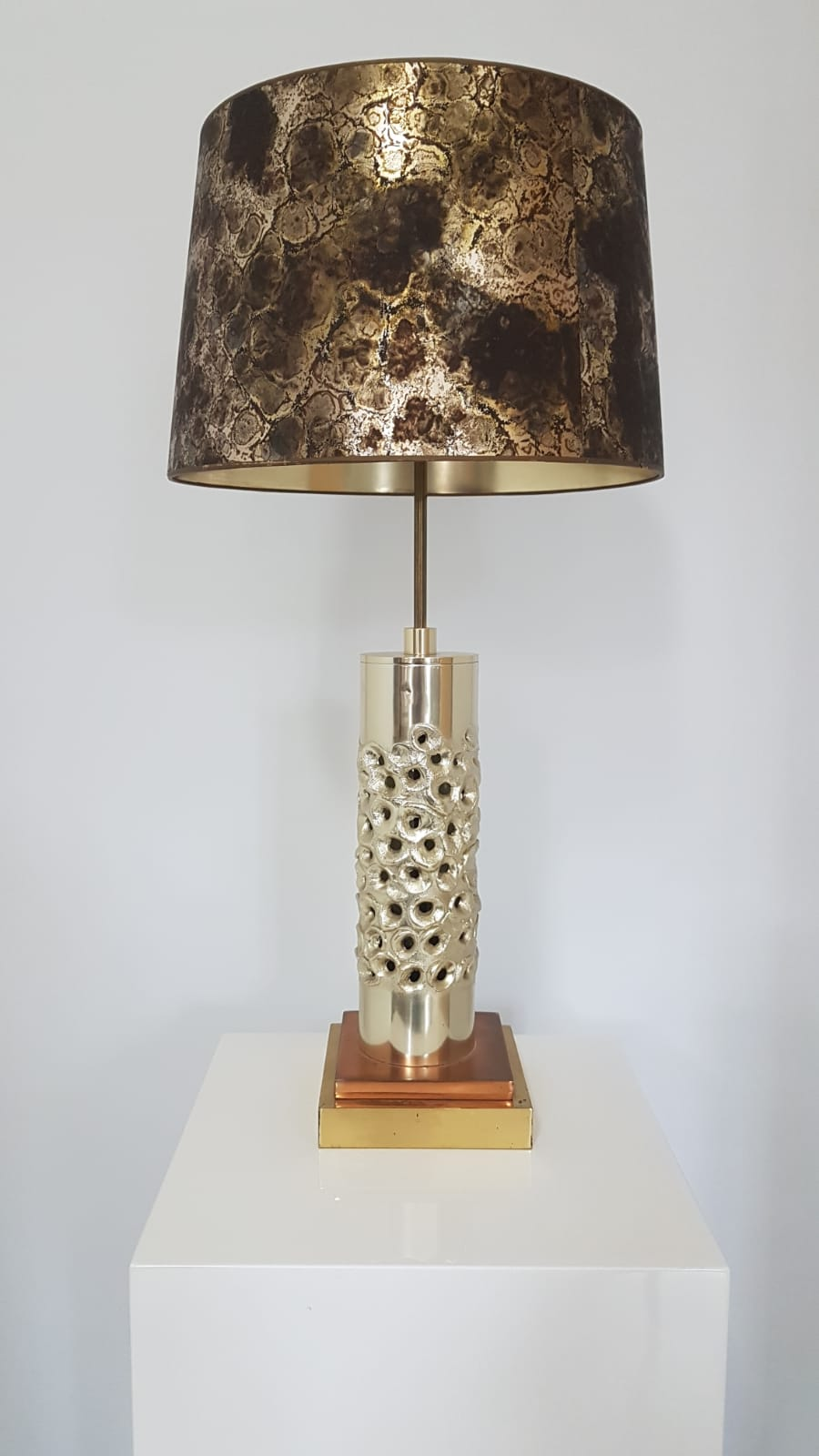 Unique brutalist table lamp - silver-plated aluminum - Willy Luyckx for Aluclair - 1960s