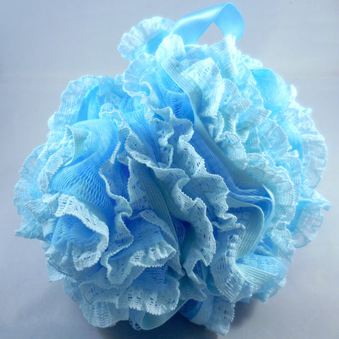 Blue Loofah Bath Sponge - Mesh & Lace Pouf (4-color pack)
