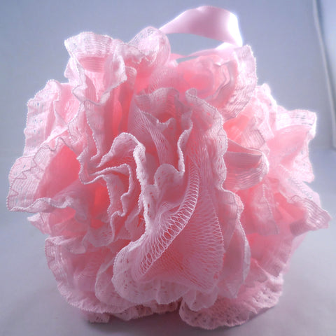 Pink Loofah Bath Sponge - Mesh & Lace Pouf (4-color pack)