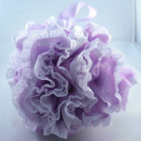 Lavender Loofah Bath Sponge - Mesh & Lace Pouf (4-color pack)