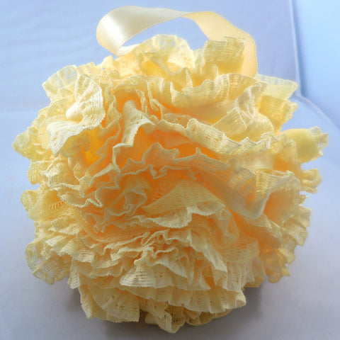 Yellow Loofah Bath Sponge - Mesh & Lace Pouf (4-color pack)