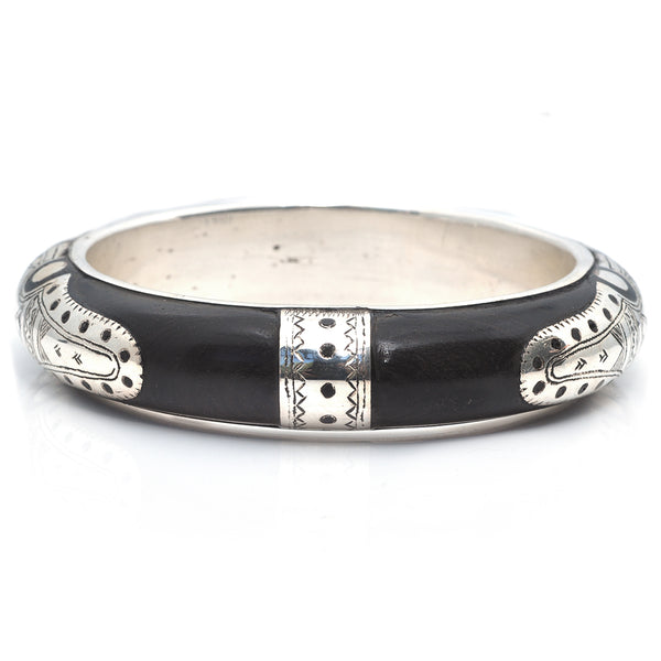Five Dot Ebony Bangle - Small