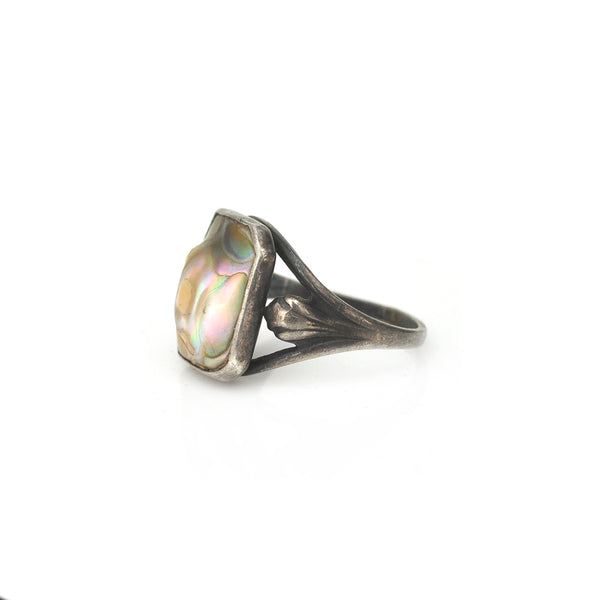 Abalone Shell Signet Ring