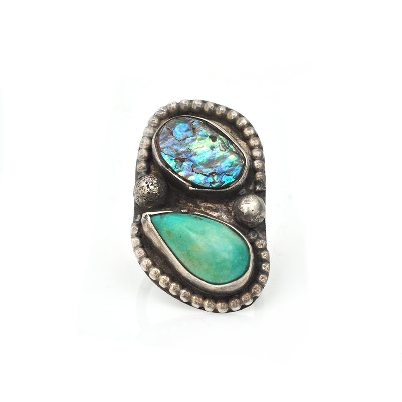 Turquoise and Abalone Ring
