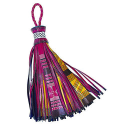 Adornment - Large Magenta Leather African Tassel