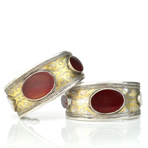 Bracelets - Pair Of Carnelian Turkmen Cuffs